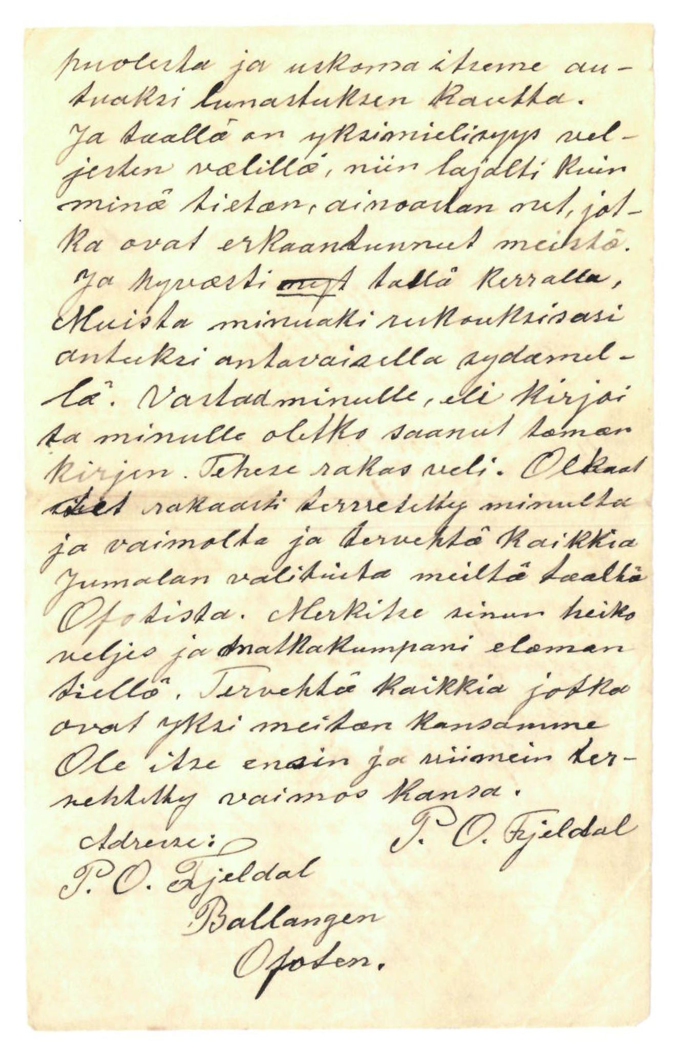 FMFB, Elise Balos brevsamling, F/Fa/L0015: Brev fra P.O. Fjeldal til A. Brune, 1902