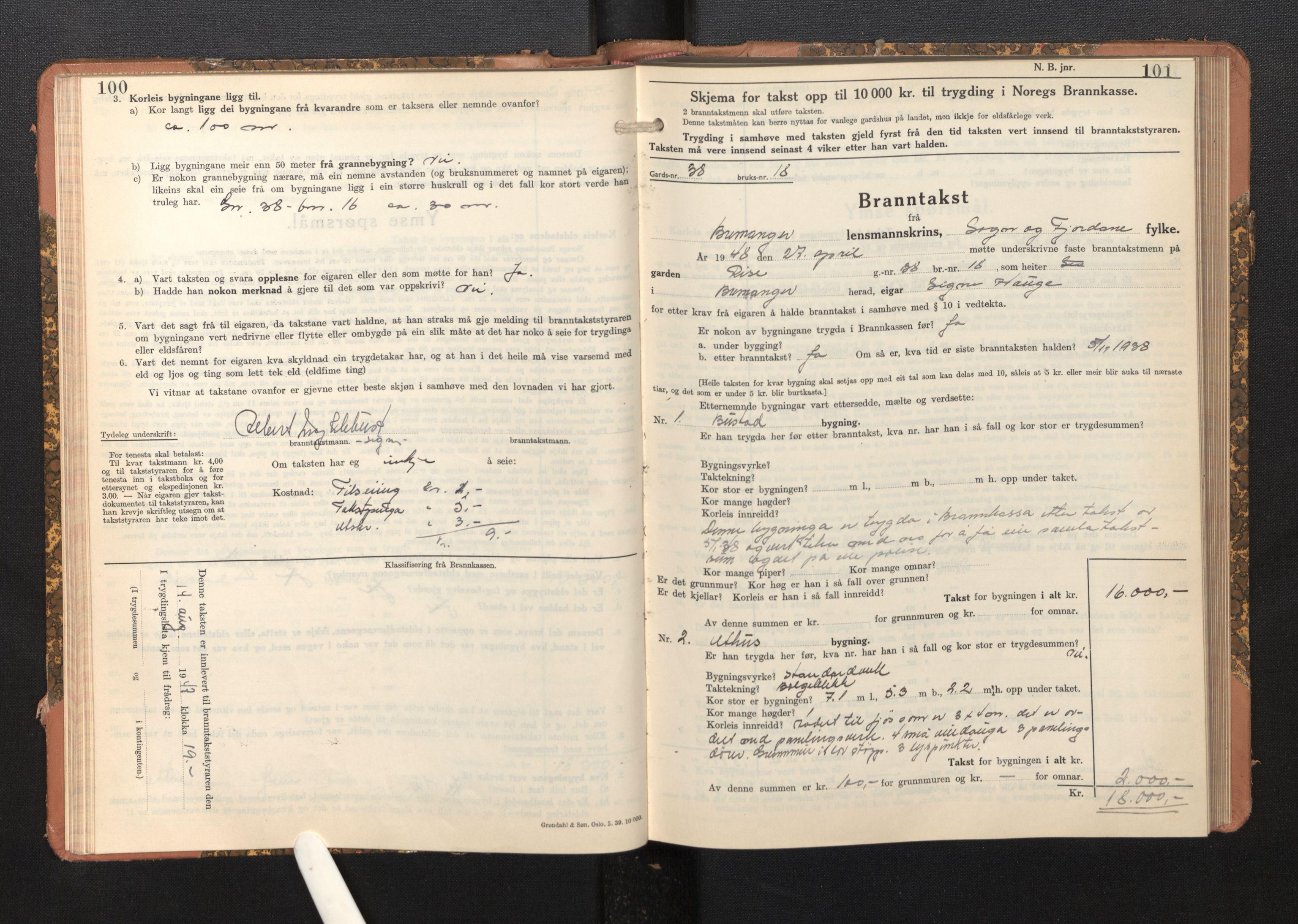 SAB, Lensmannen i Bremanger, 0012/L0009: Branntakstprotokoll, skjematakst, 1943-1950, p. 100-101