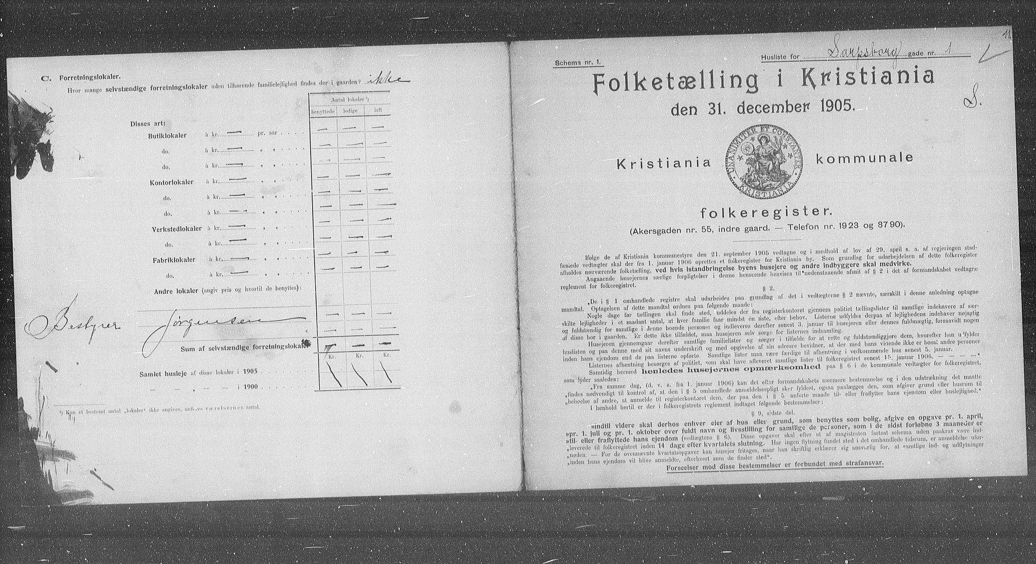 OBA, Municipal Census 1905 for Kristiania, 1905, p. 46355