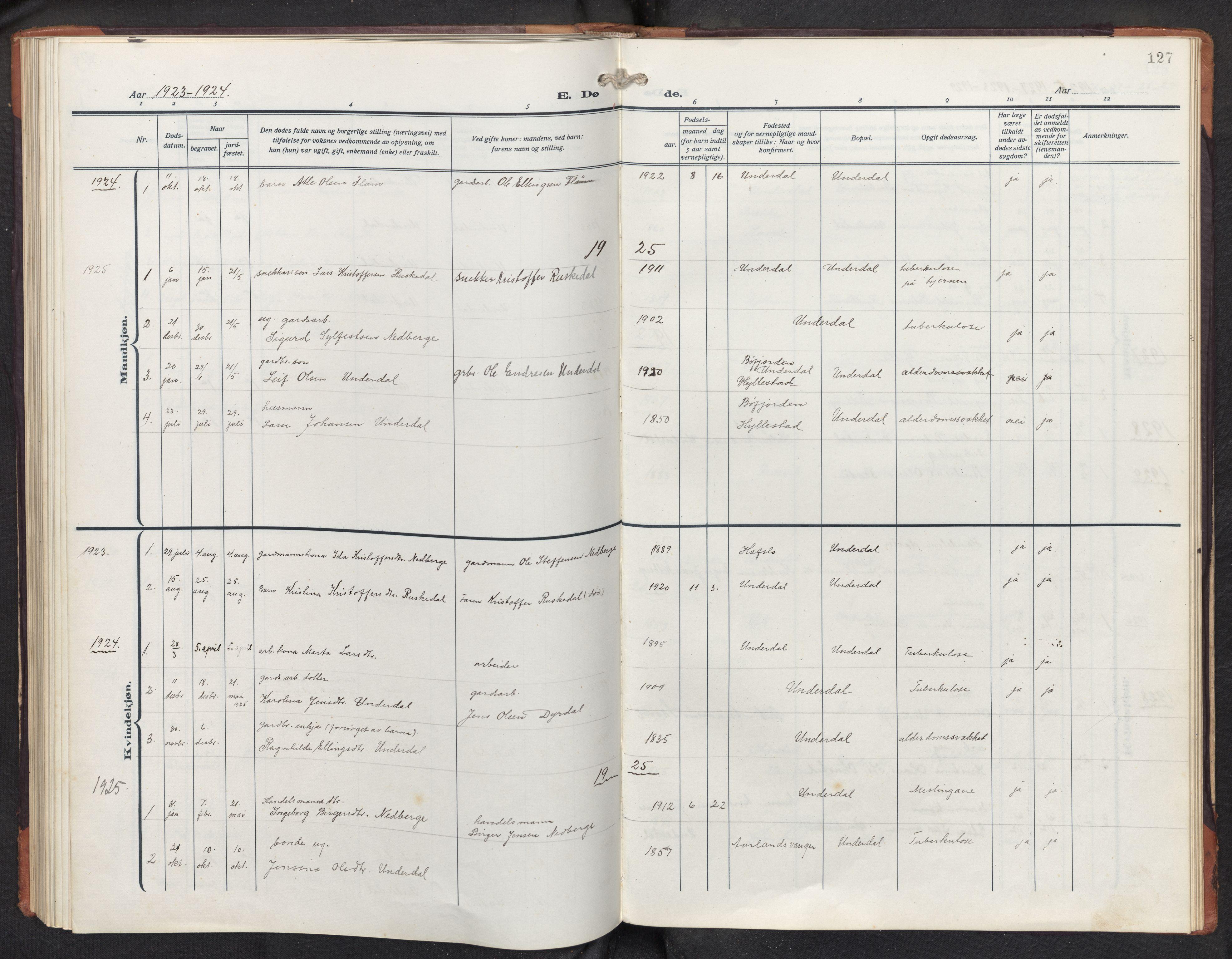 SAB, Aurland sokneprestembete, H/Hb/Hbd/L0003: Parish register (copy) no. D 3, 1920-1968, p. 126b-127a