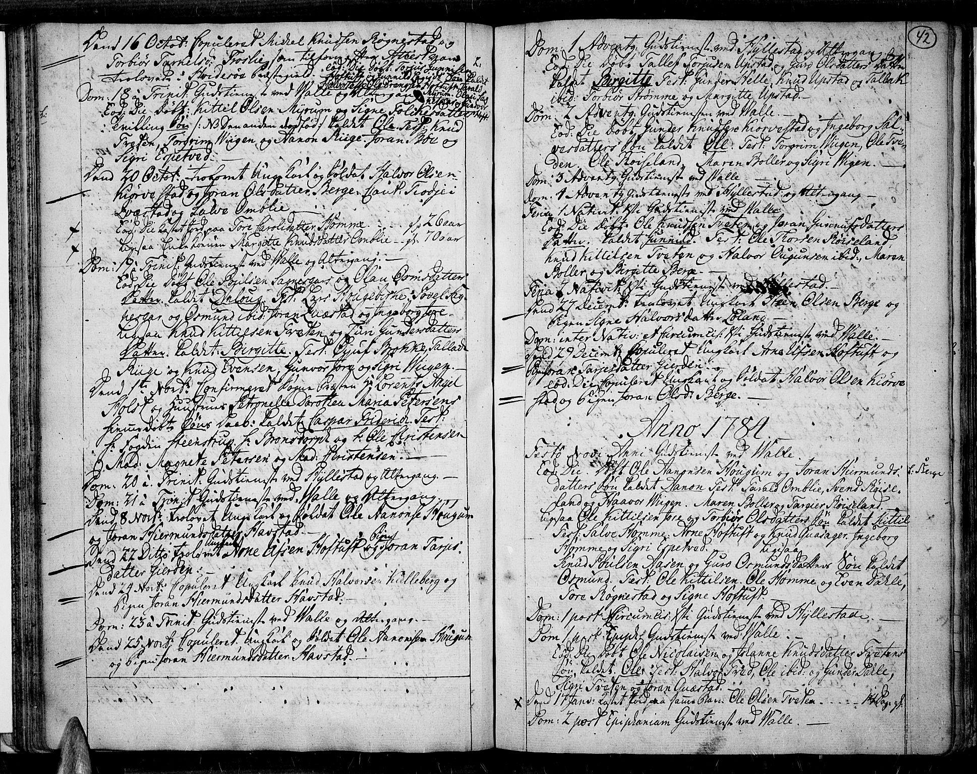 SAK, Valle sokneprestkontor, F/Fa/Fac/L0003: Parish register (official) no. A 3, 1776-1790, p. 42
