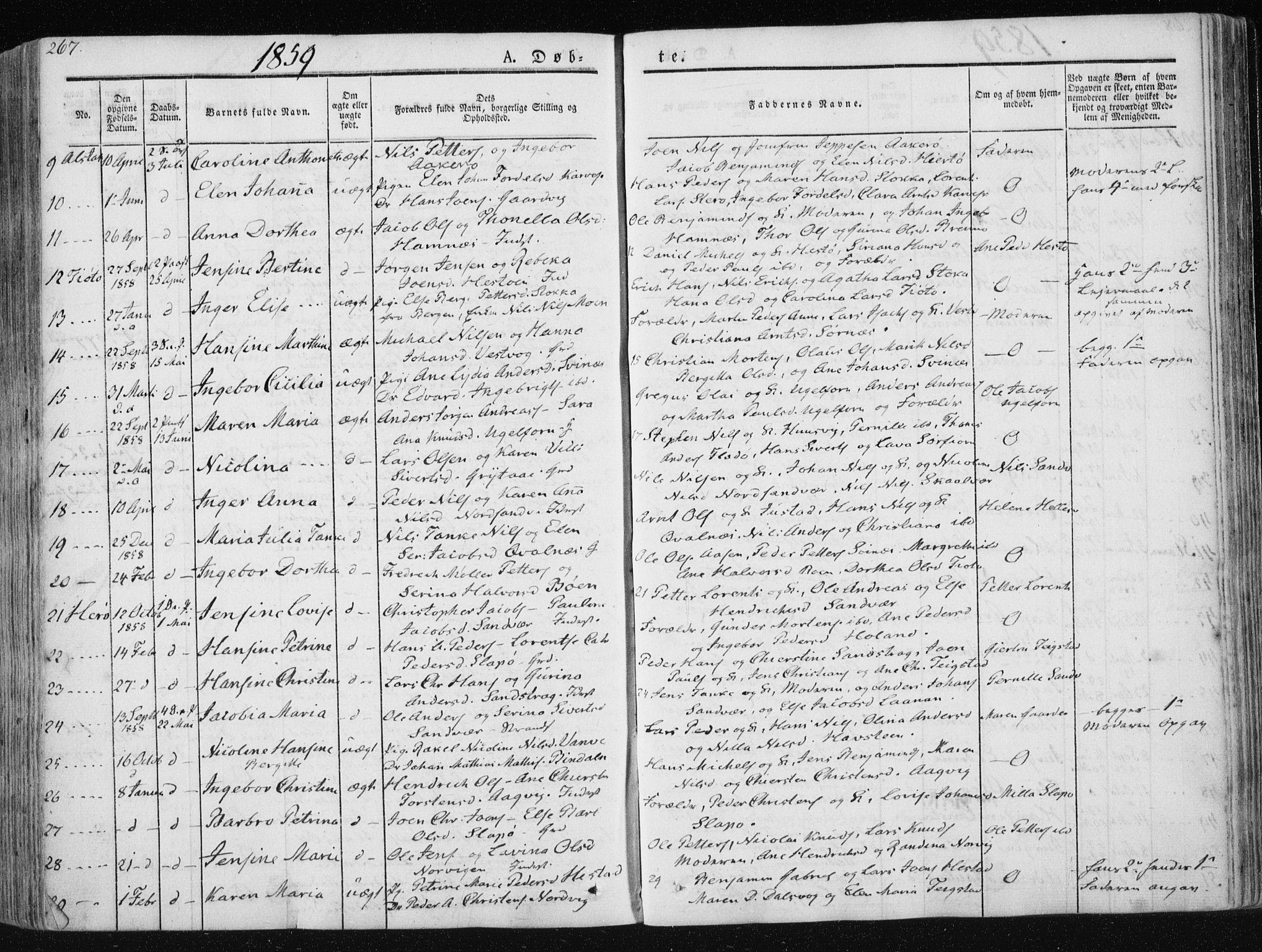 SAT, Ministerialprotokoller, klokkerbøker og fødselsregistre - Nordland, 830/L0446: Parish register (official) no. 830A10, 1831-1865, p. 267