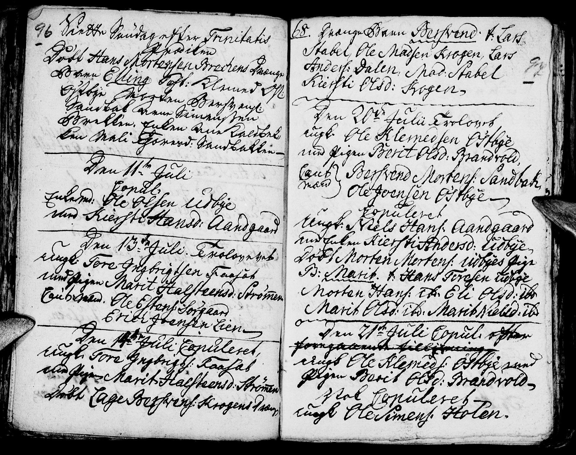 SAH, Tynset prestekontor, Parish register (official) no. 6, 1763-1779, p. 96-97
