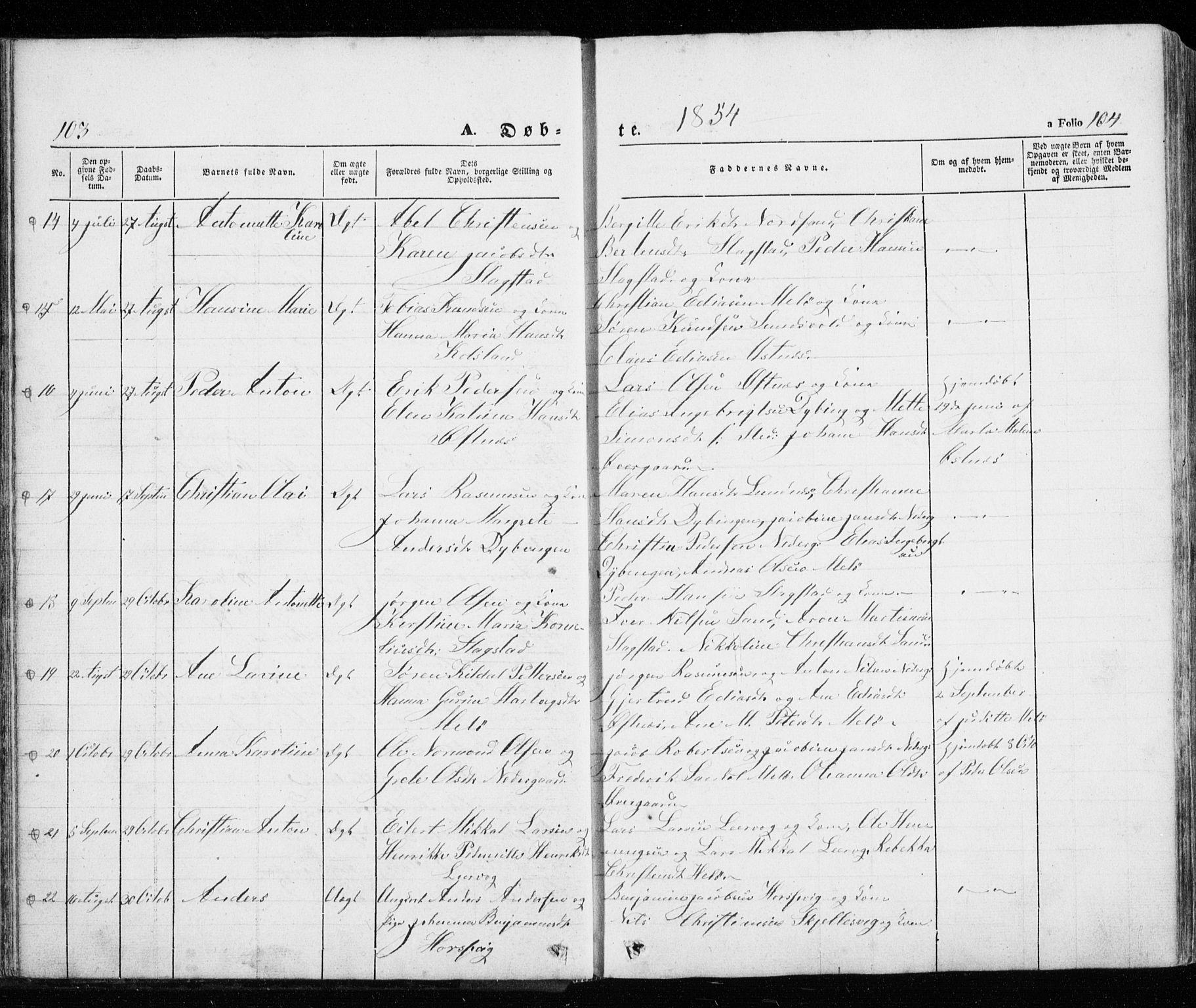 SATØ, Trondenes sokneprestkontor, H/Ha/L0010kirke: Parish register (official) no. 10, 1840-1865, p. 103-104