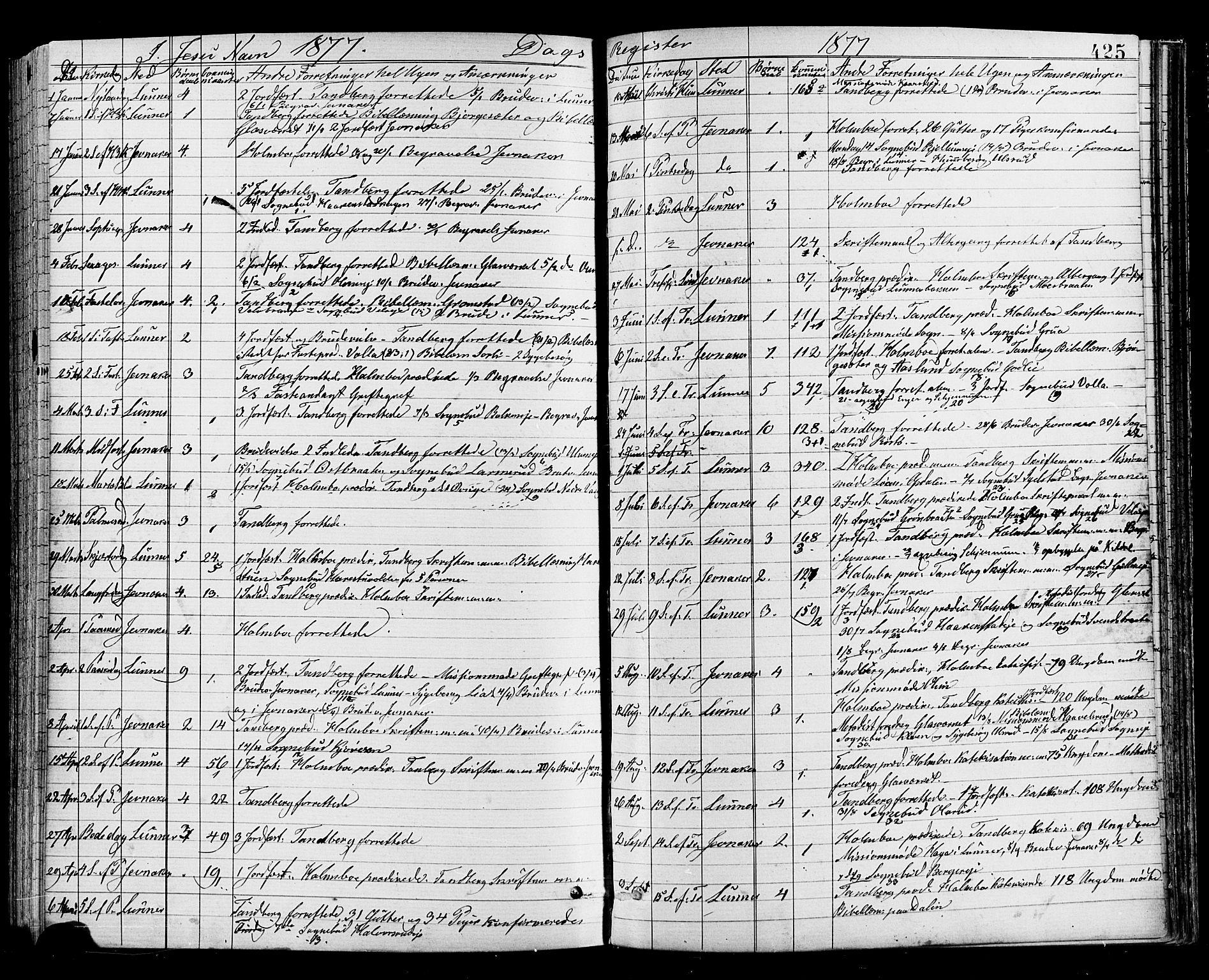 SAH, Jevnaker prestekontor, Parish register (official) no. 8, 1877-1890, p. 425