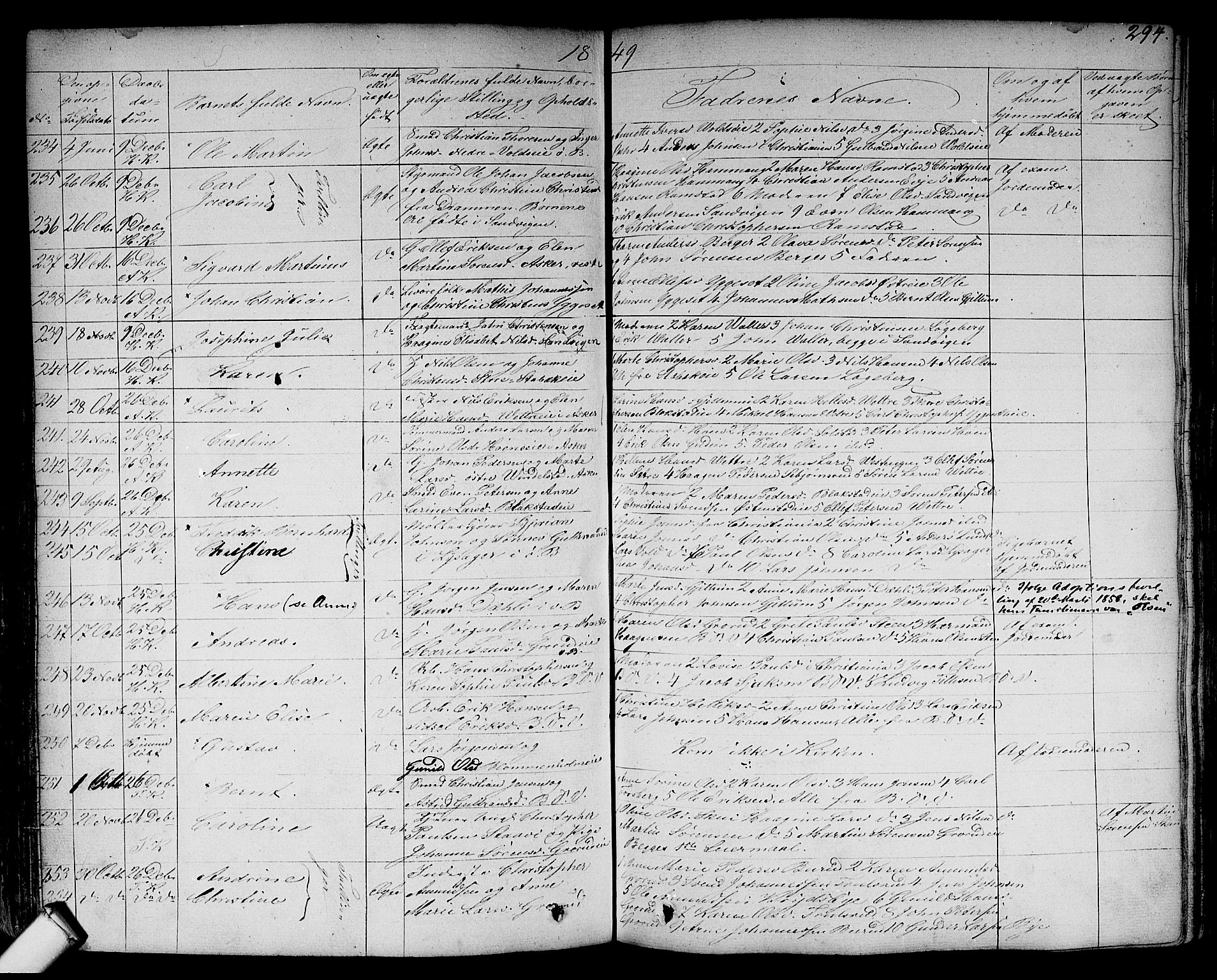 SAO, Asker prestekontor Kirkebøker, F/Fa/L0007: Parish register (official) no. I 7, 1825-1864, p. 294