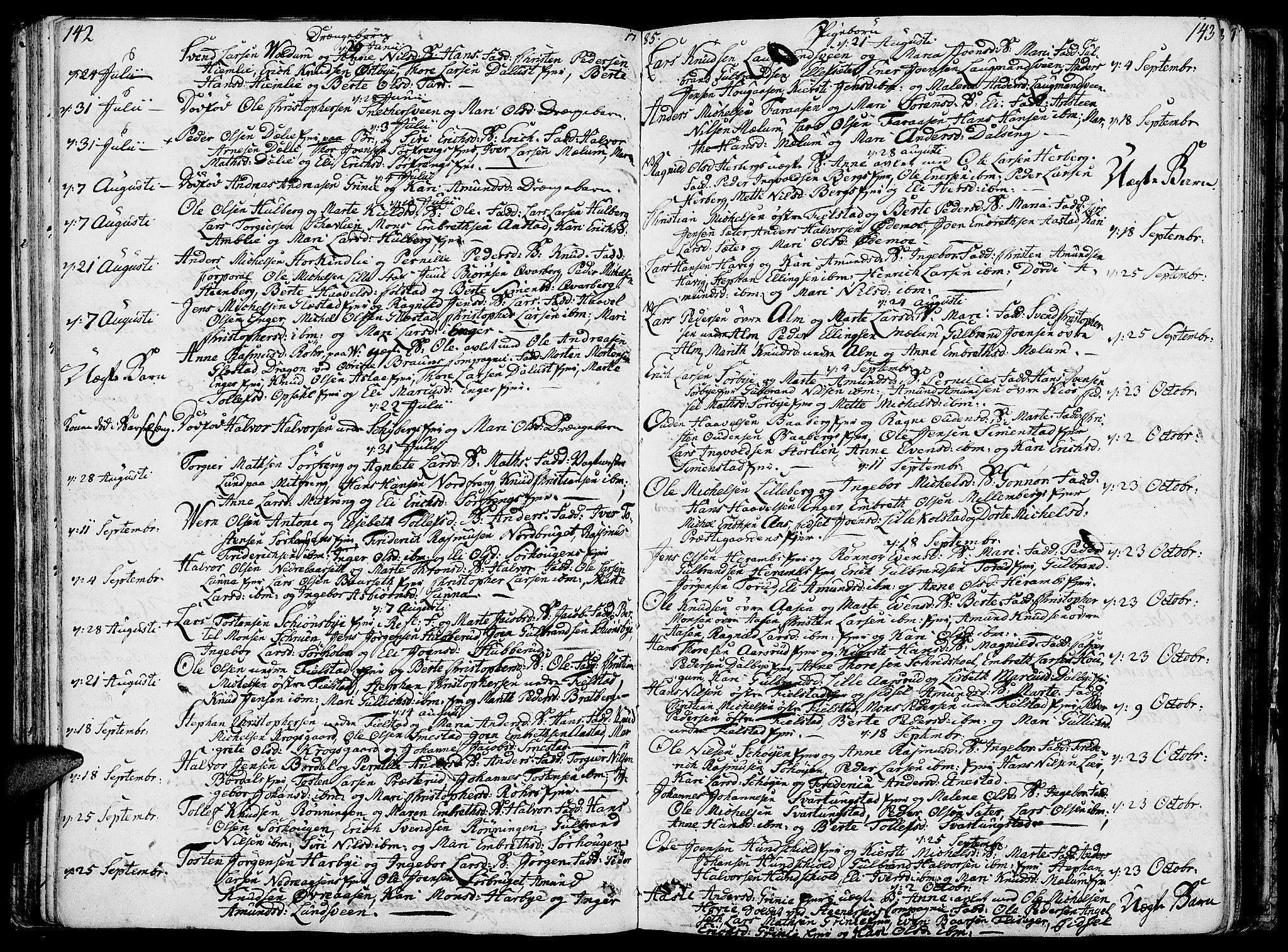 SAH, Ringsaker prestekontor, K/Ka/L0003: Parish register (official) no. 3, 1775-1798, p. 142-143