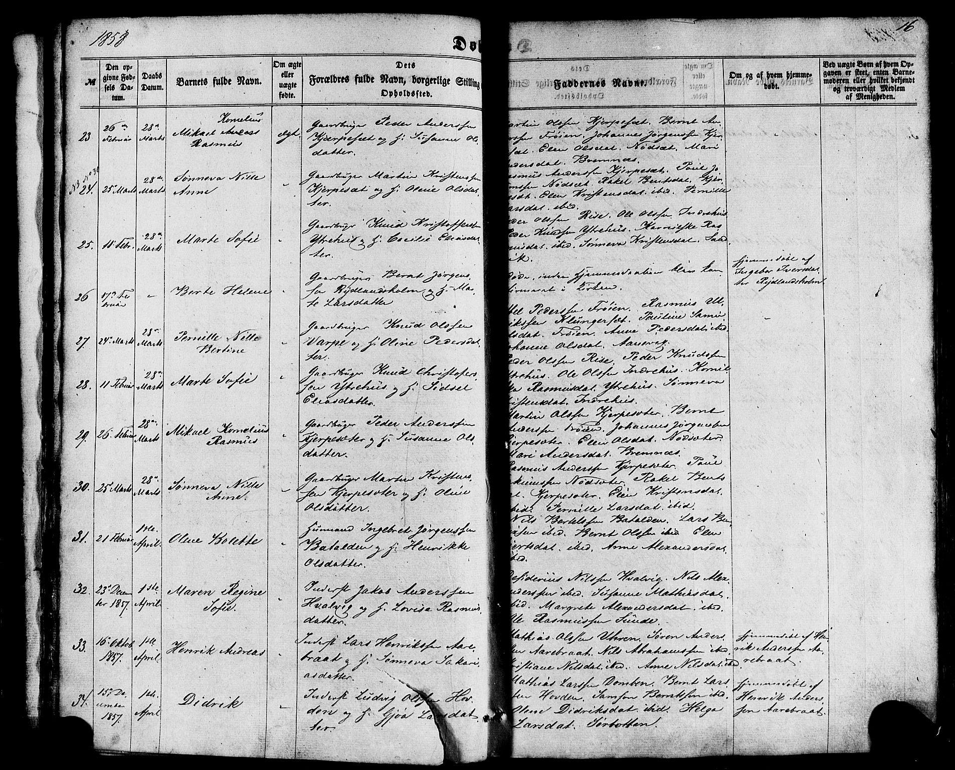 SAB, Kinn Sokneprestembete, Parish register (official) no. A 6, 1857-1885, p. 16