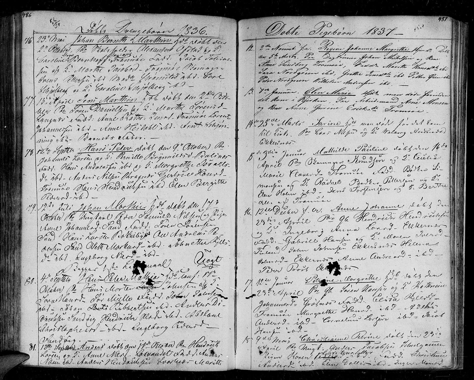 SATØ, Tromsø sokneprestkontor/stiftsprosti/domprosti, G/Ga/L0008kirke: Parish register (official) no. 8, 1829-1837, p. 486-487