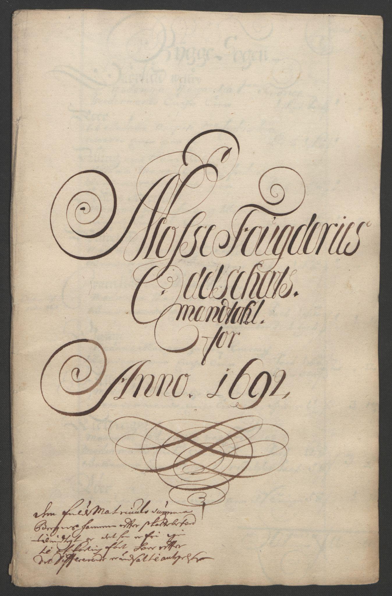 RA, Rentekammeret inntil 1814, Reviderte regnskaper, Fogderegnskap, R02/L0108: Fogderegnskap Moss og Verne kloster, 1692-1693, p. 105