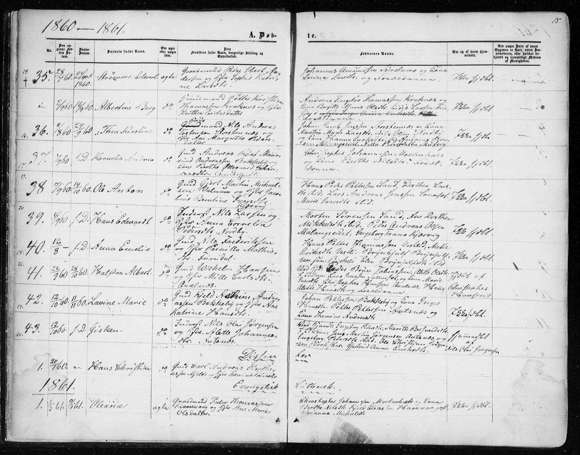 SATØ, Balsfjord sokneprestembete, Parish register (official) no. 1, 1858-1870, p. 15