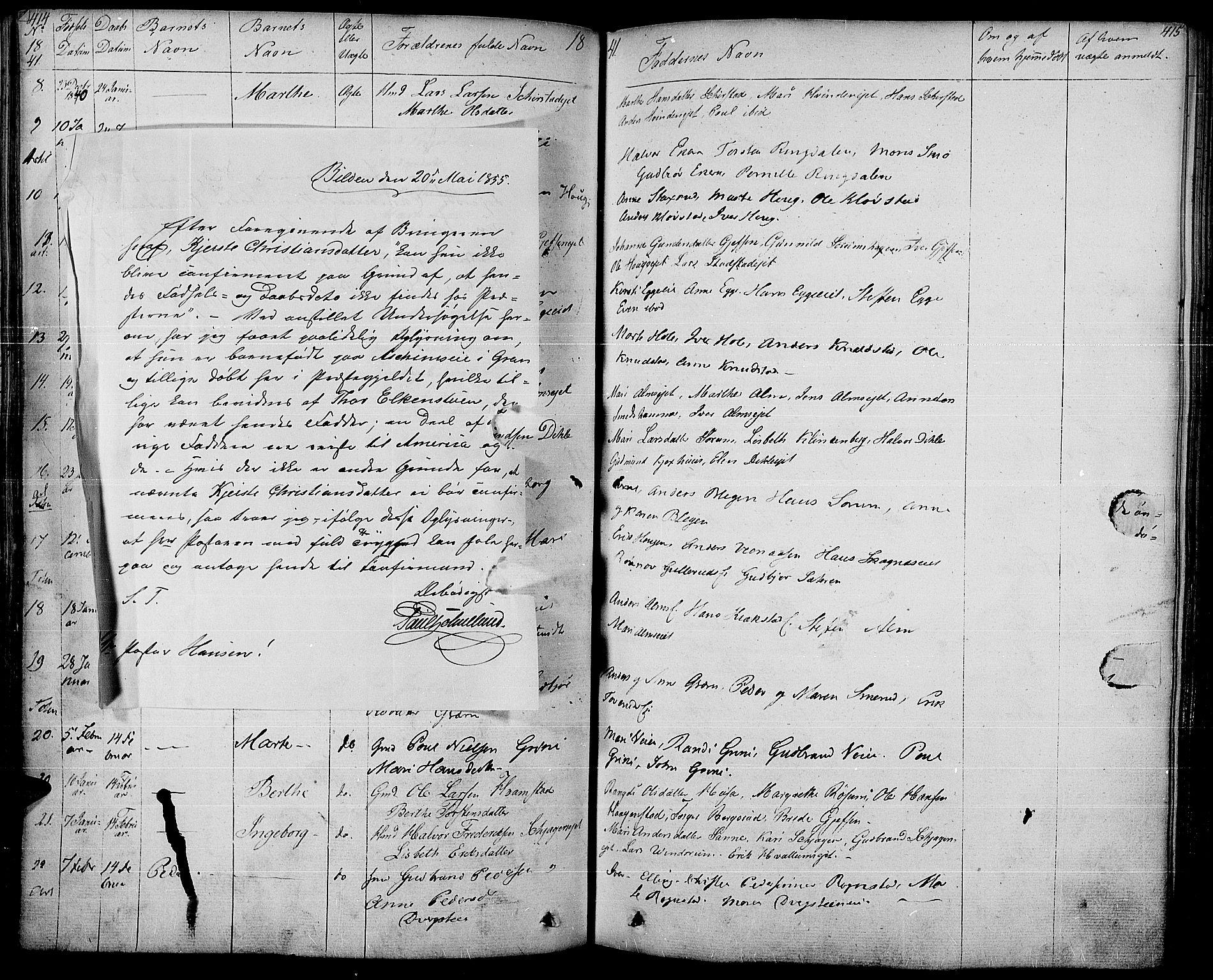 SAH, Gran prestekontor, Parish register (official) no. 10, 1824-1842, p. 414-415
