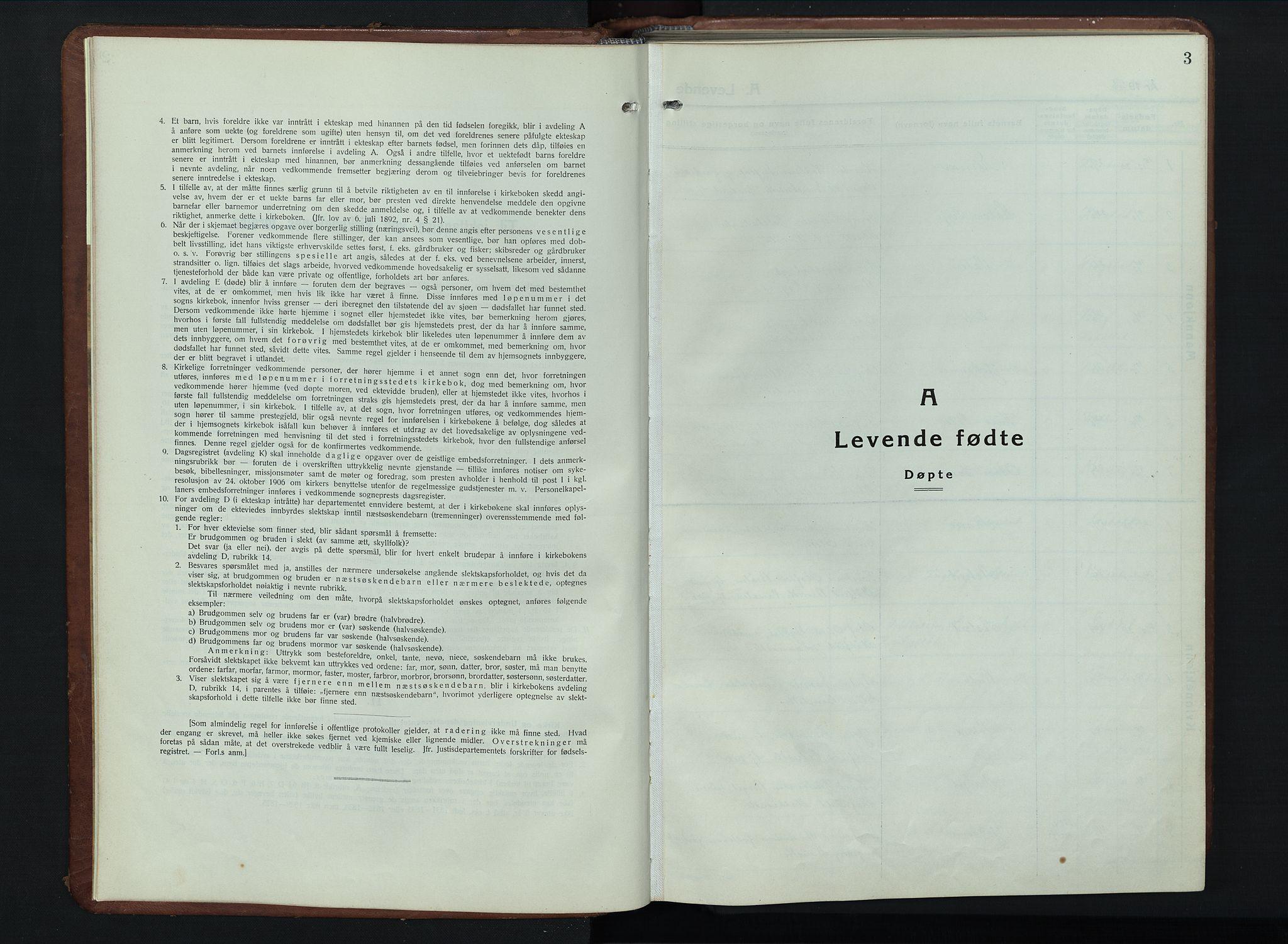SAH, Vestre Gausdal prestekontor, Parish register (copy) no. 5, 1926-1955, p. 3