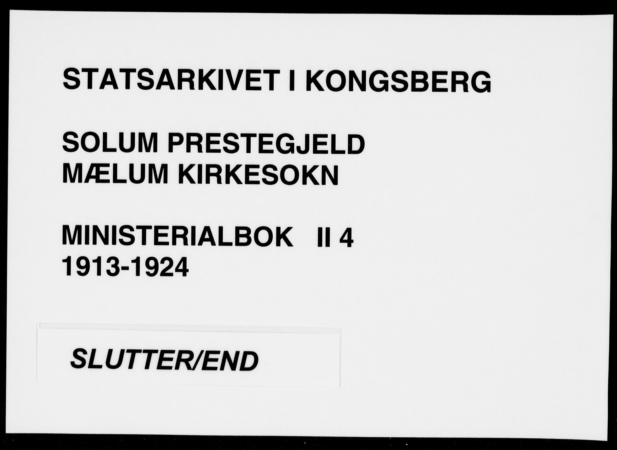 SAKO, Solum kirkebøker, F/Fb/L0004: Parish register (official) no. II 4, 1913-1924