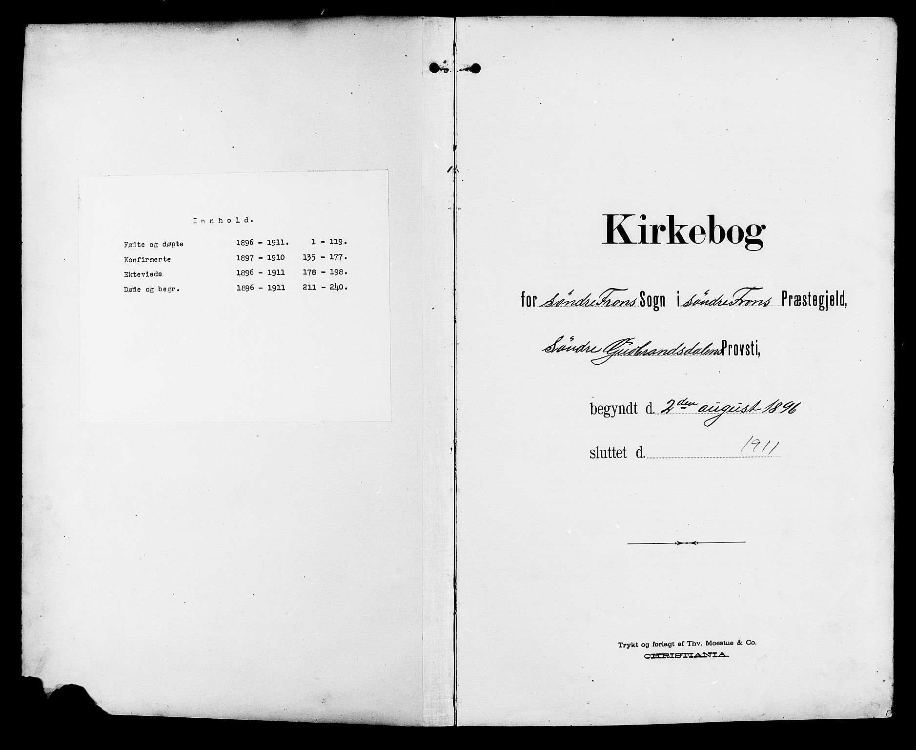 SAH, Sør-Fron prestekontor, H/Ha/Hab/L0004: Parish register (copy) no. 4, 1896-1911