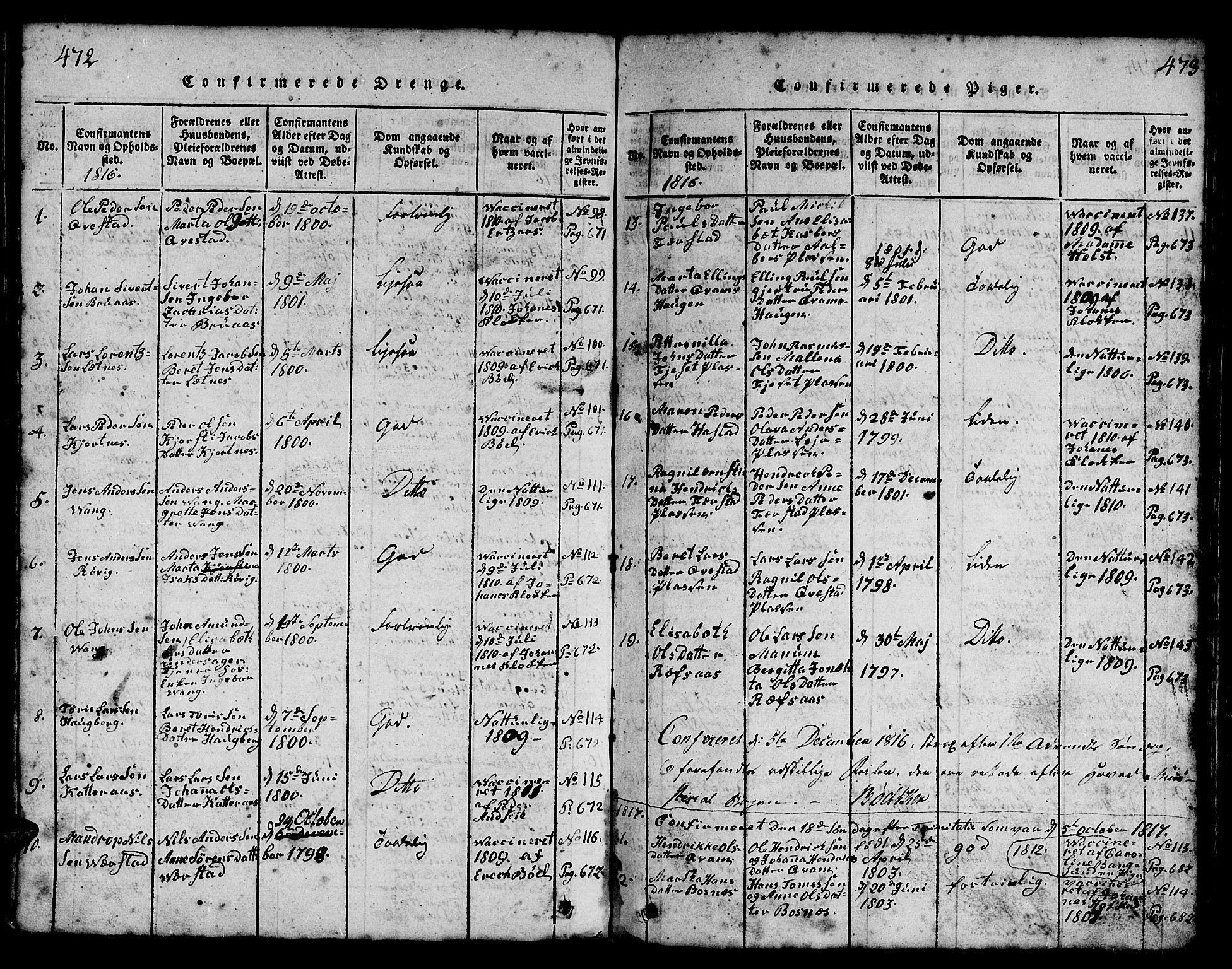 SAT, Ministerialprotokoller, klokkerbøker og fødselsregistre - Nord-Trøndelag, 730/L0298: Parish register (copy) no. 730C01, 1816-1849, p. 472-473