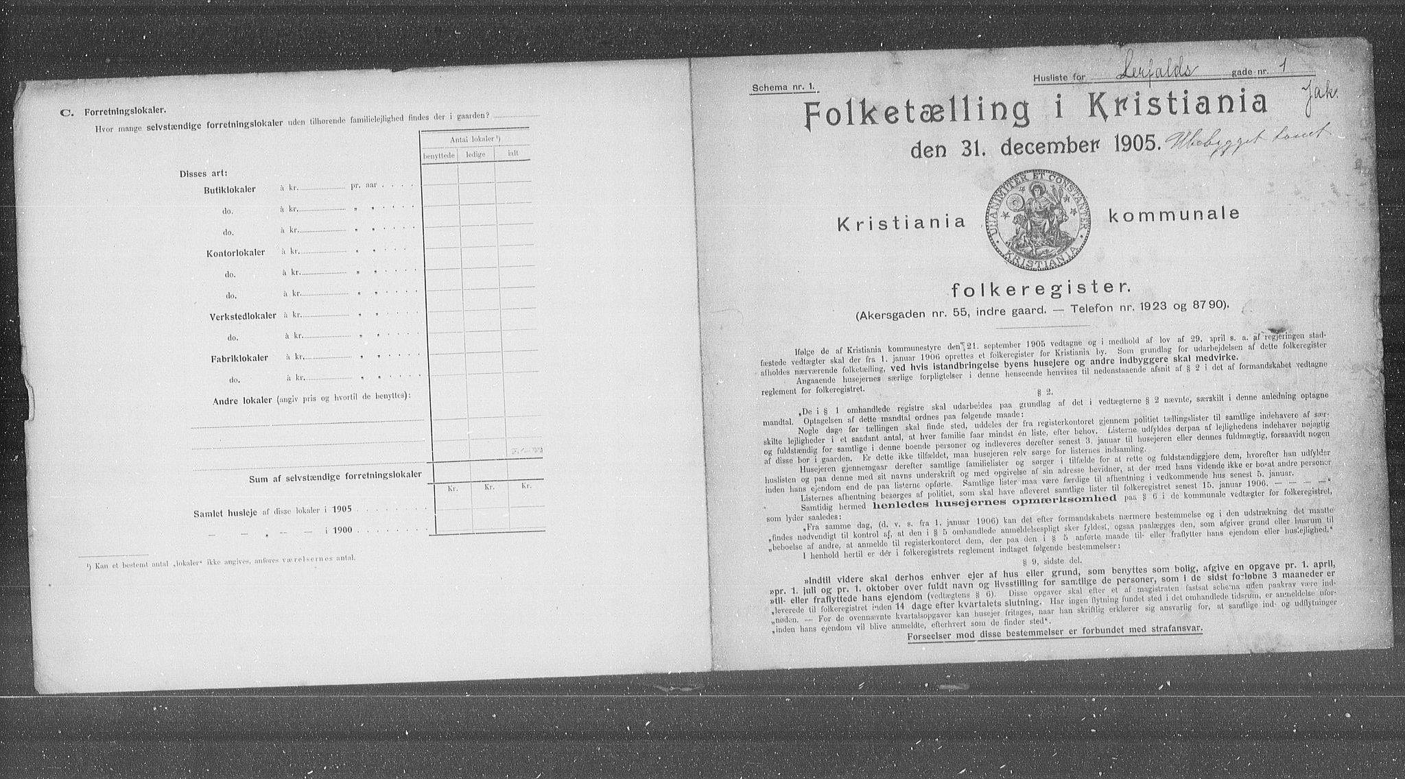OBA, Municipal Census 1905 for Kristiania, 1905, p. 30113