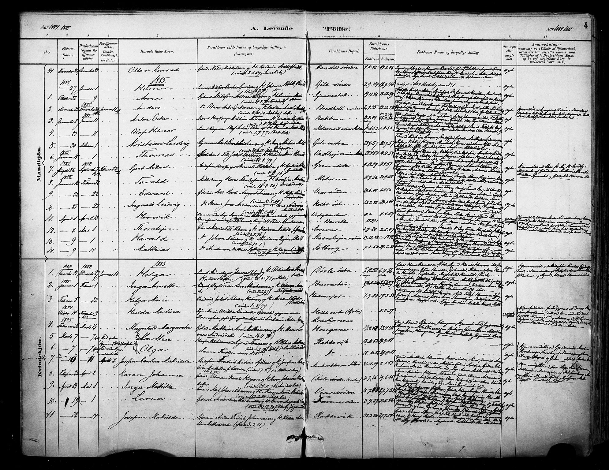 SAKO, Stokke kirkebøker, F/Fa/L0010: Parish register (official) no. I 10, 1884-1903, p. 4