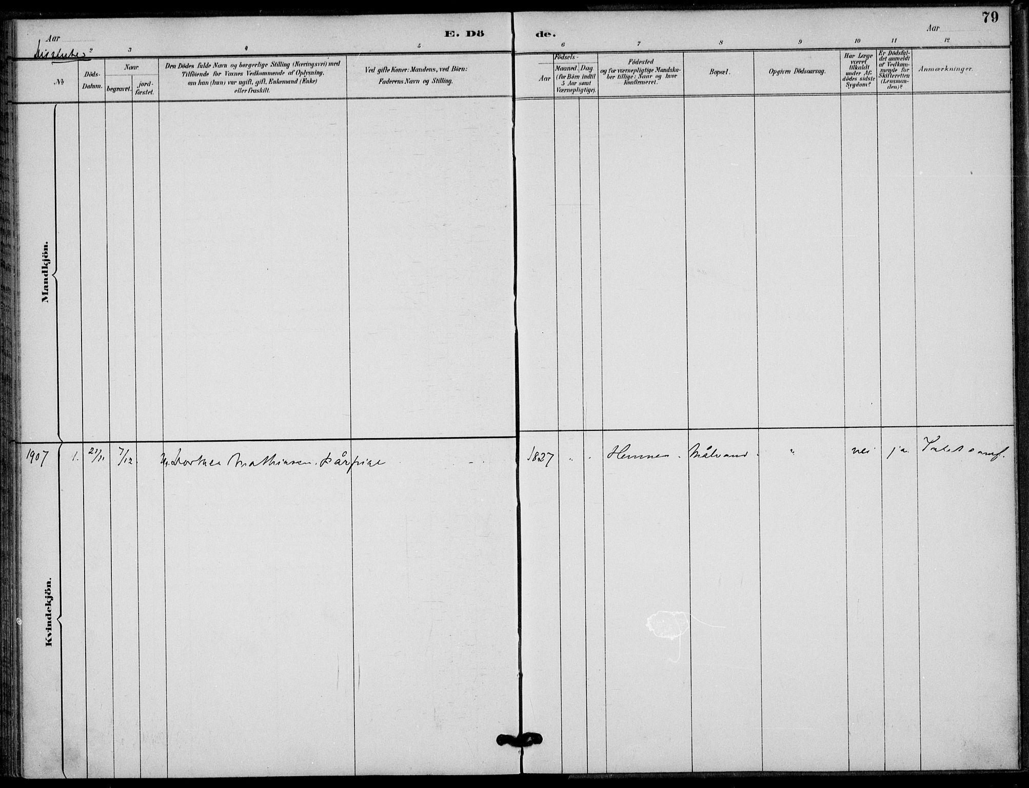 SAT, Ministerialprotokoller, klokkerbøker og fødselsregistre - Nordland, 825/L0363: Parish register (official) no. 825A17, 1890-1909, p. 79