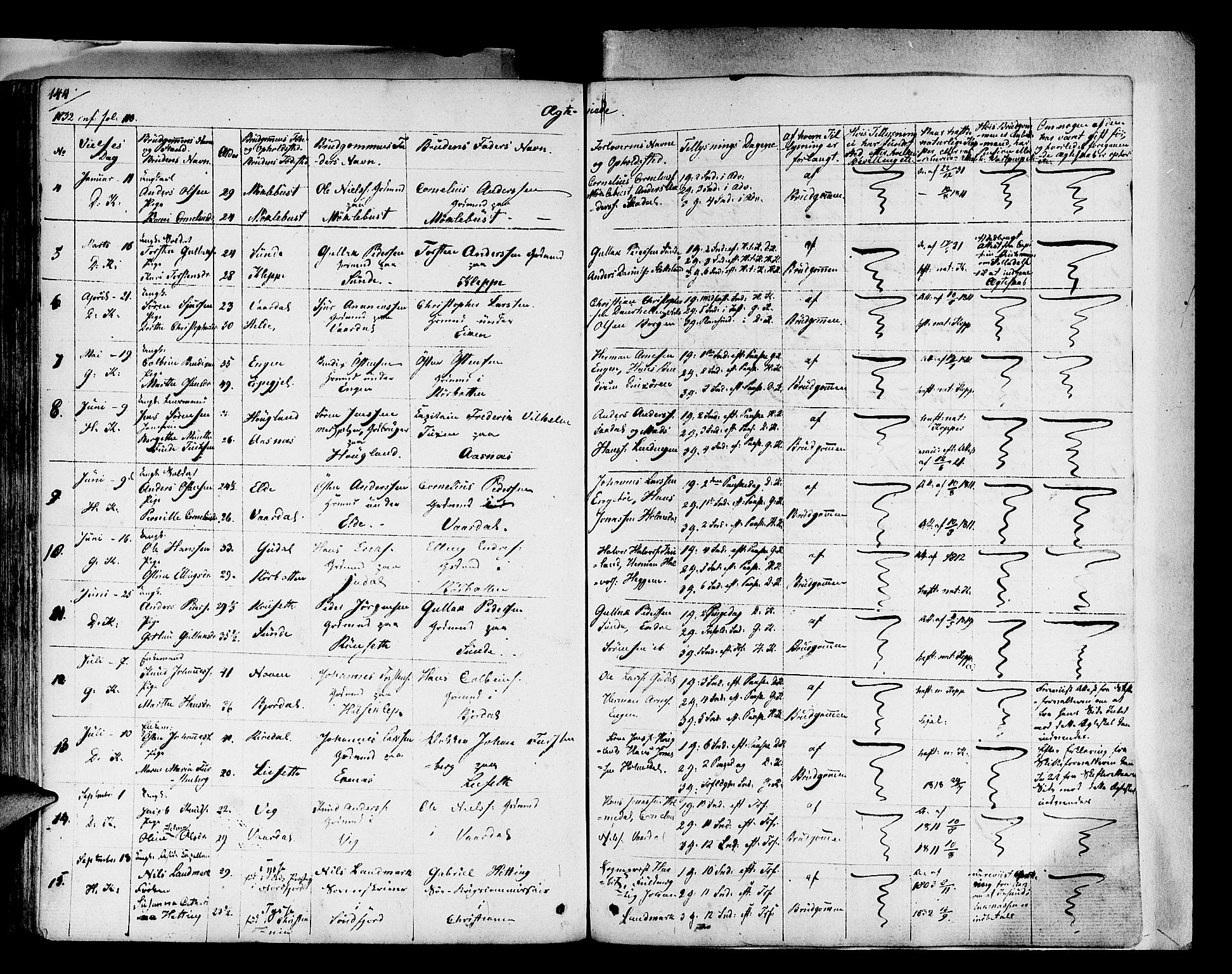 SAB, Fjaler Sokneprestembete, H/Haa: Parish register (official) no. A 5, 1821-1835, p. 144