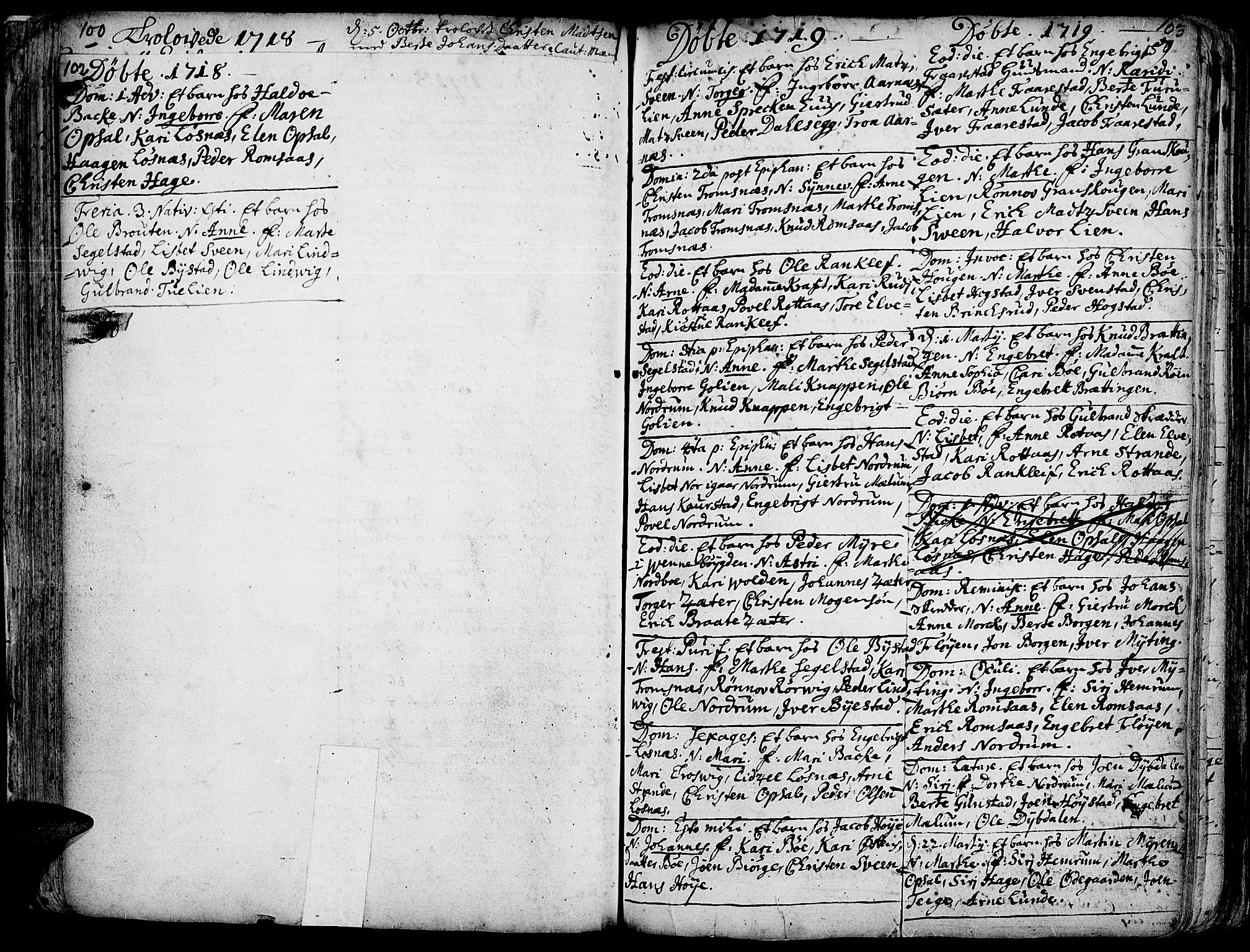 SAH, Ringebu prestekontor, Parish register (official) no. 1, 1696-1733, p. 102-103