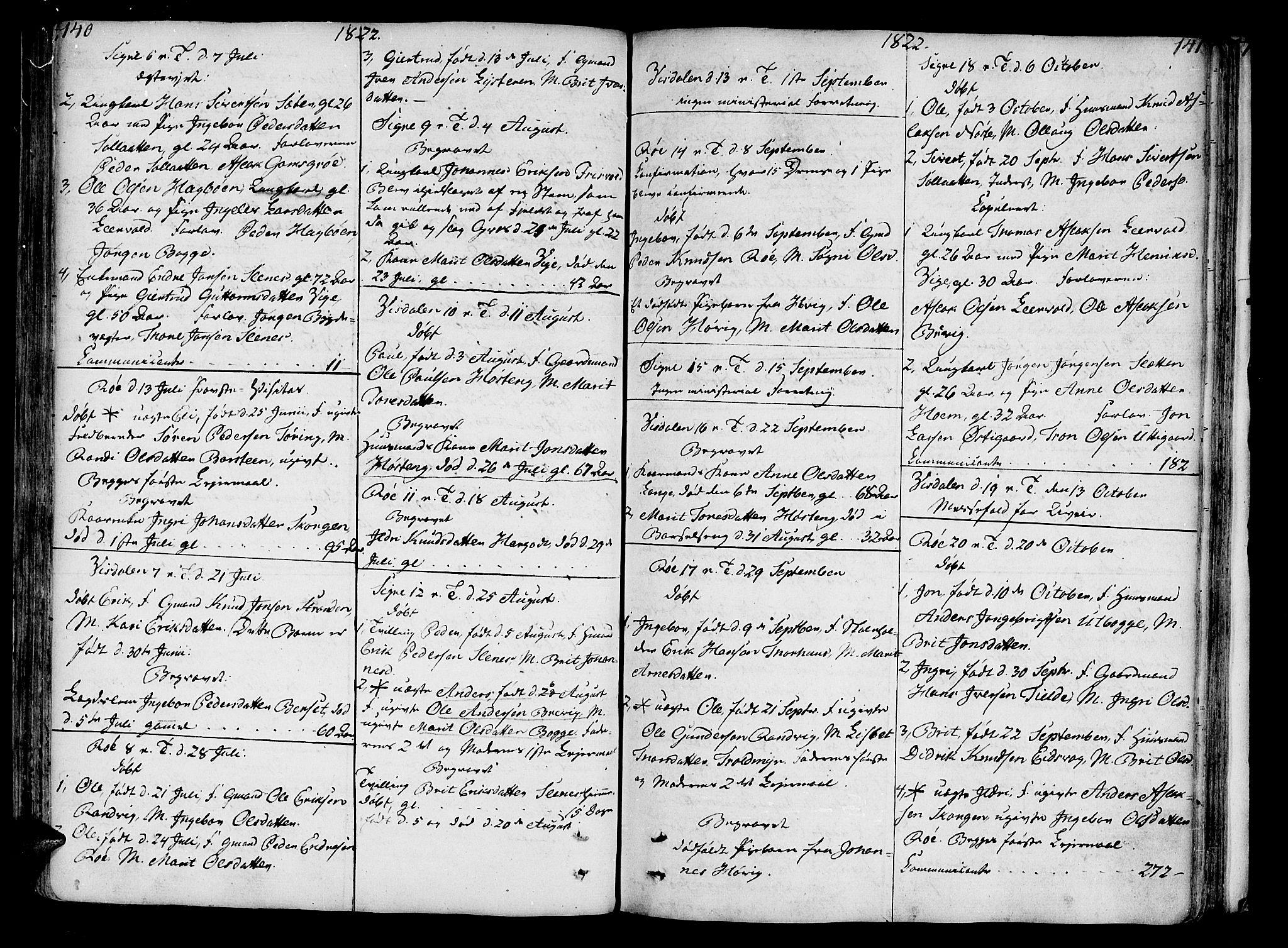 SAT, Ministerialprotokoller, klokkerbøker og fødselsregistre - Møre og Romsdal, 551/L0622: Parish register (official) no. 551A02, 1804-1845, p. 140-141