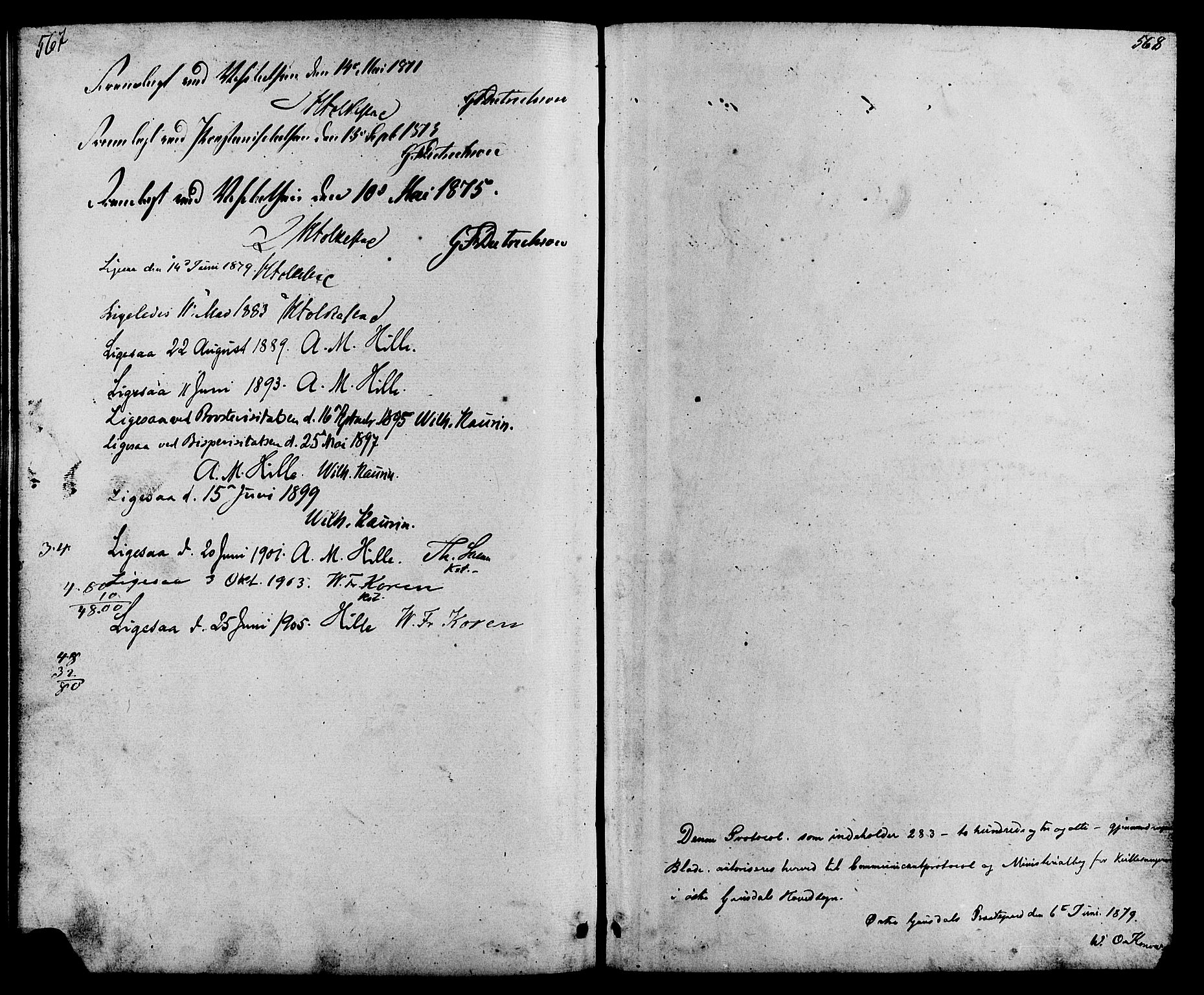 SAH, Østre Gausdal prestekontor, Parish register (copy) no. 1, 1863-1893, p. 567-568