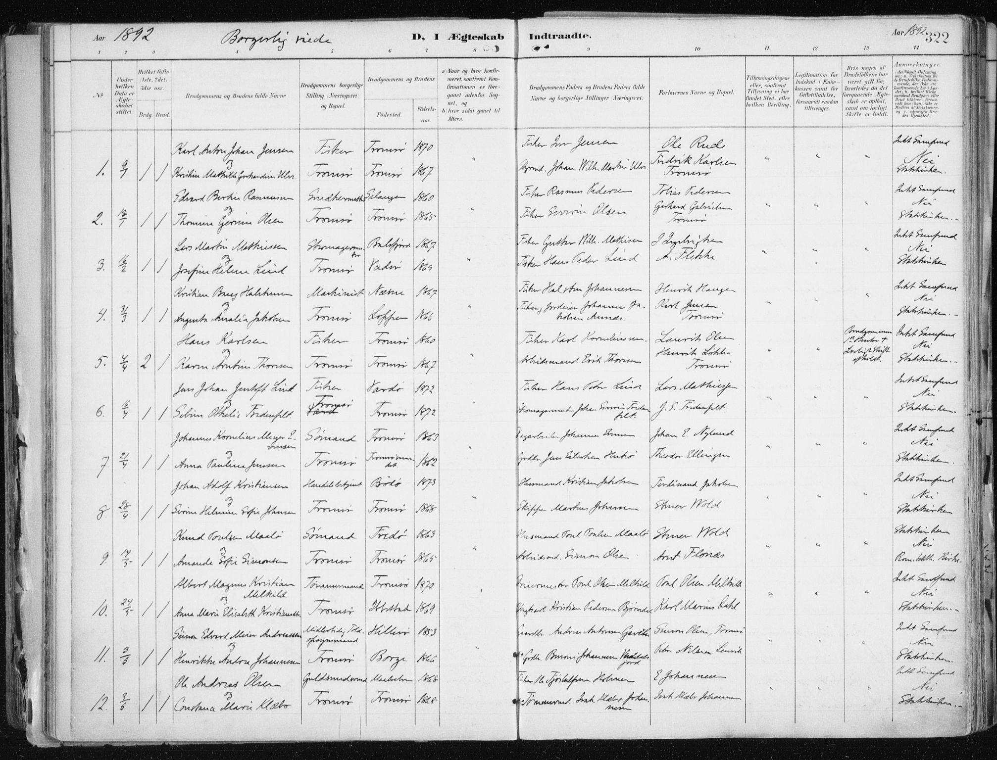 SATØ, Tromsø sokneprestkontor/stiftsprosti/domprosti, G/Ga/L0015kirke: Parish register (official) no. 15, 1889-1899, p. 322
