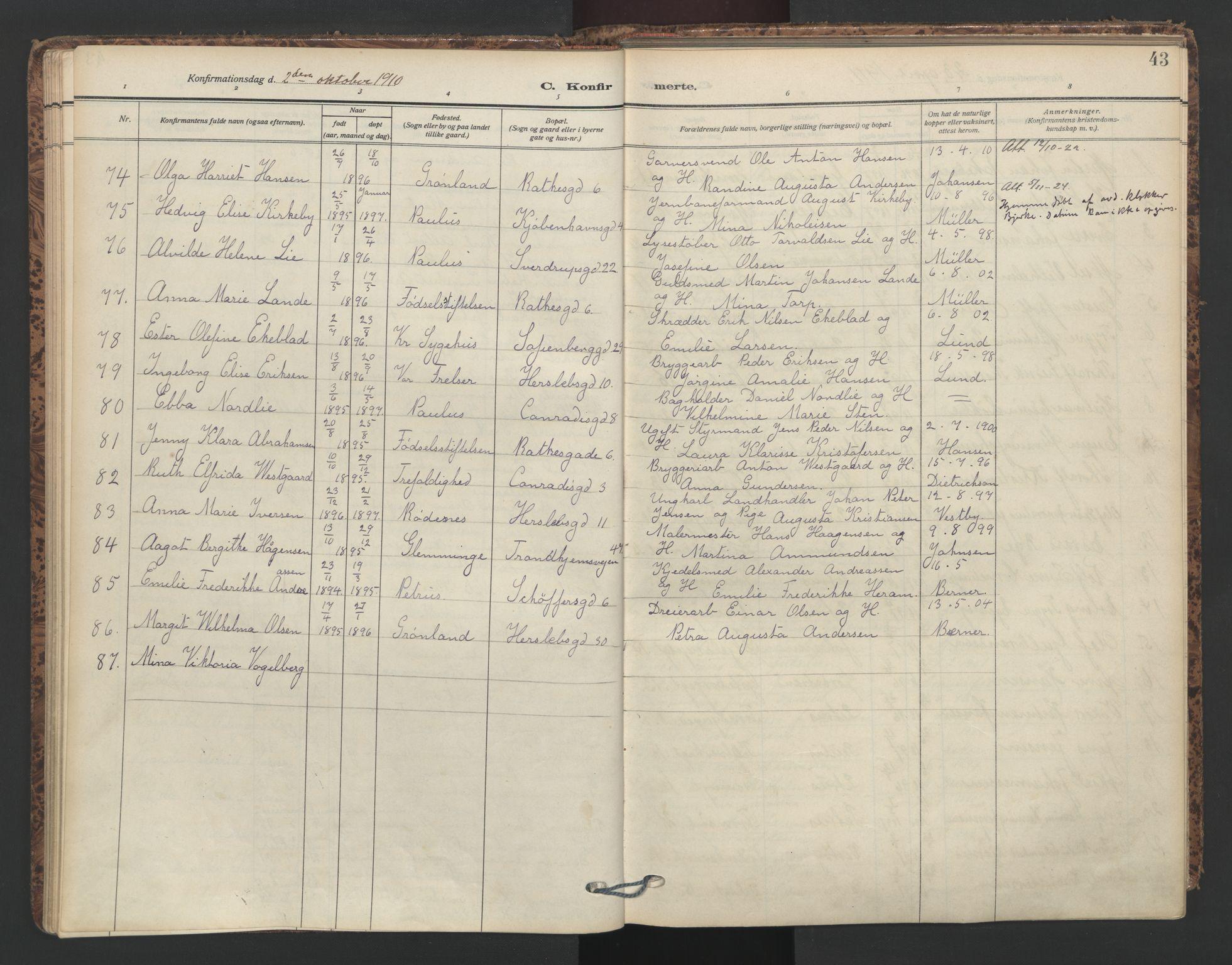 SAO, Petrus prestekontor Kirkebøker, F/Fa/L0011: Parish register (official) no. 11, 1908-1922, p. 43