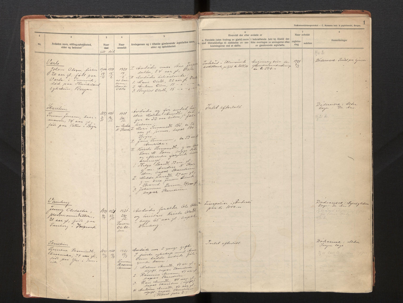 SAB, Lensmannen i Innvik, 0006/L0005: Dødsfallprotokoll, 1921-1932, p. 1a