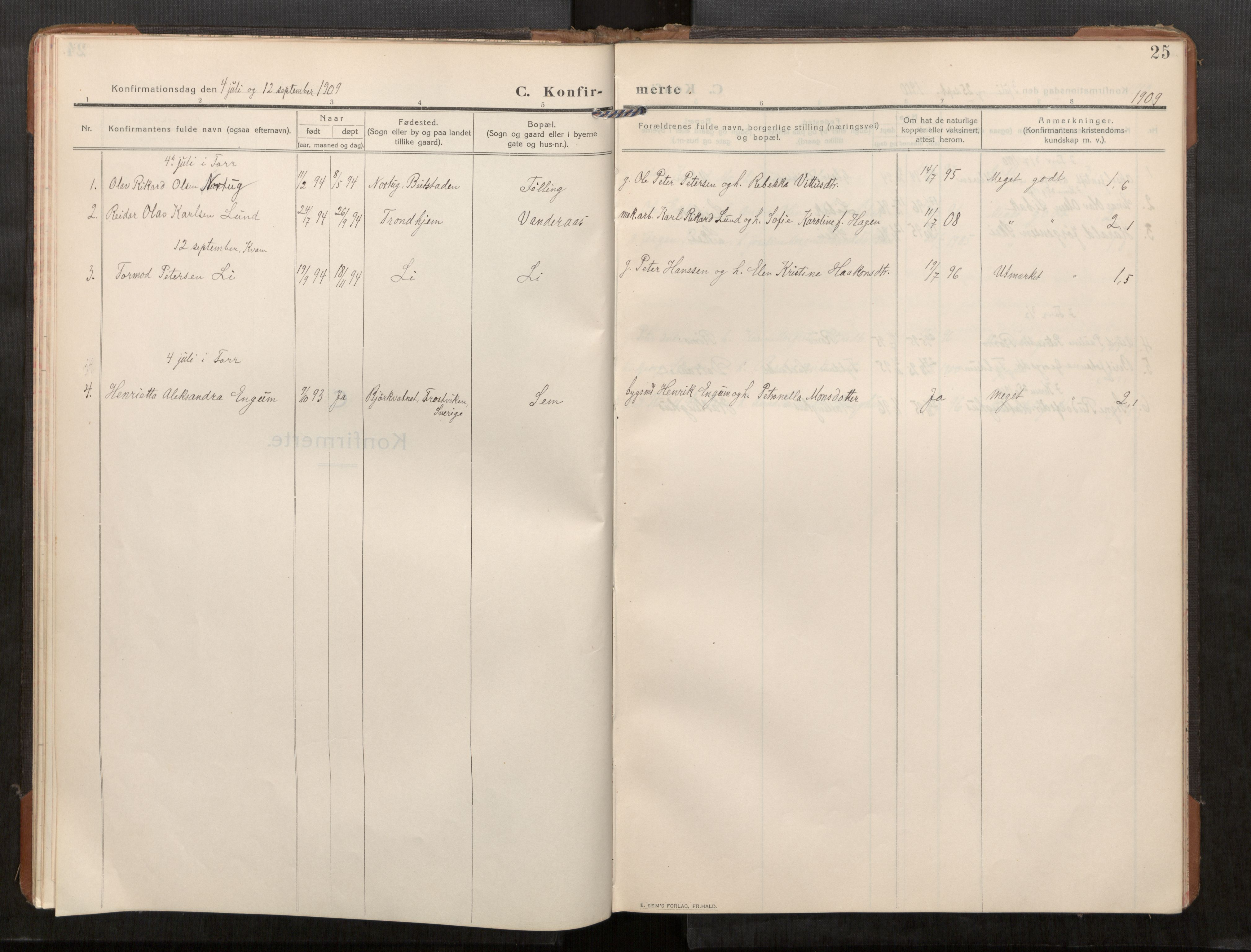 SAT, Stod sokneprestkontor, I/I1/I1a/L0003: Parish register (official) no. 3, 1909-1934, p. 25
