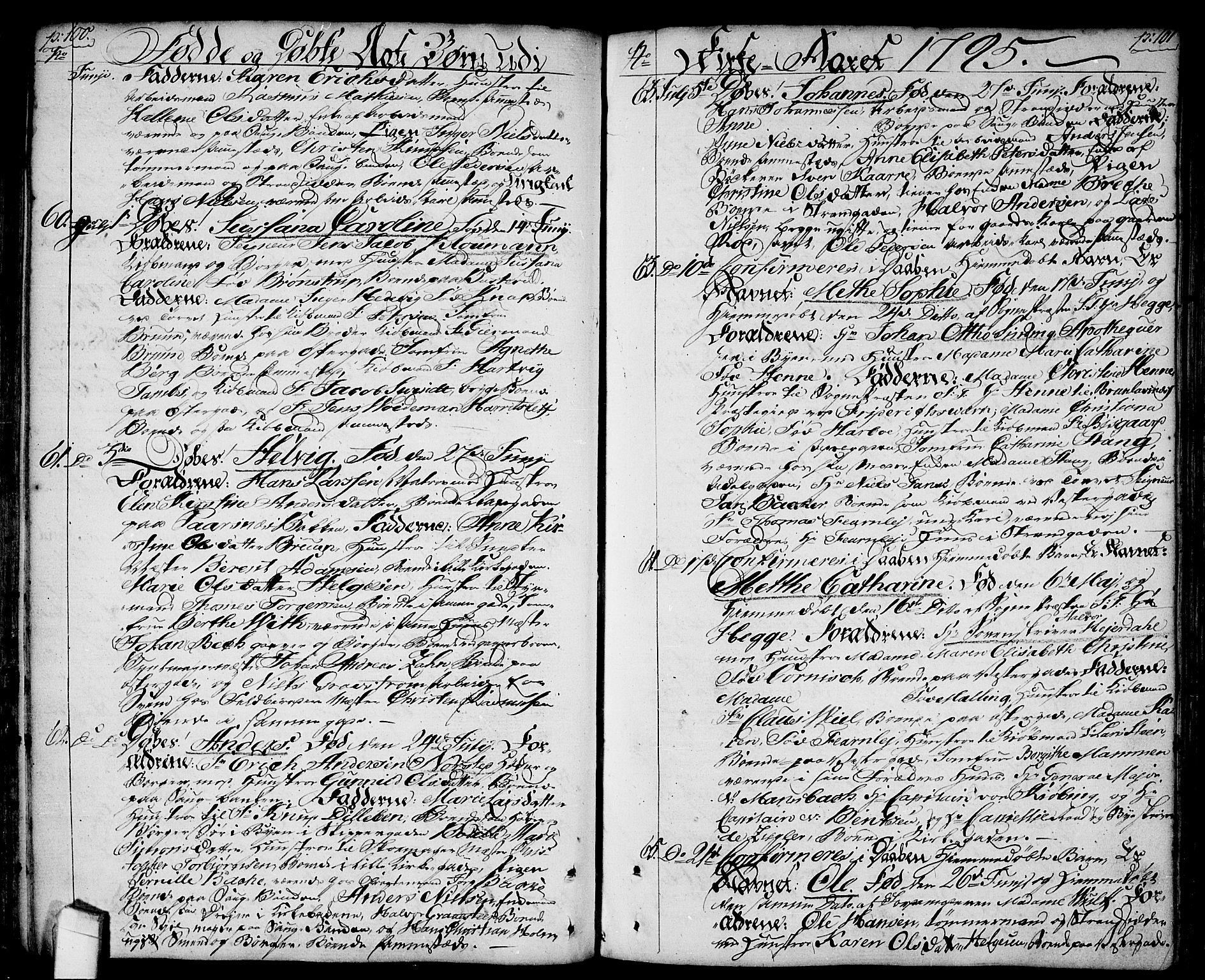 SAO, Halden prestekontor Kirkebøker, F/Fa/L0002: Parish register (official) no. I 2, 1792-1812, p. 100-101