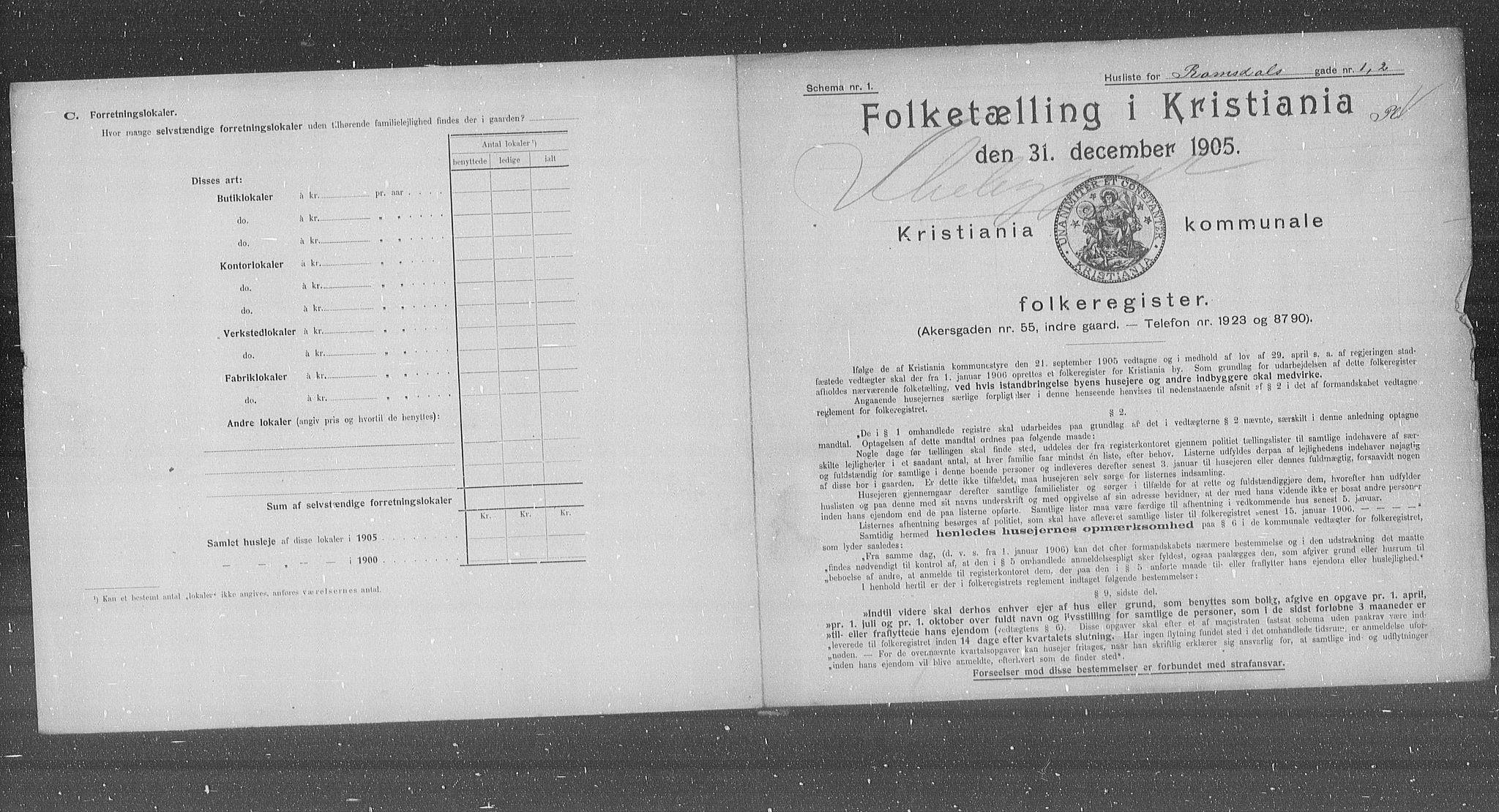 OBA, Municipal Census 1905 for Kristiania, 1905, p. 43812
