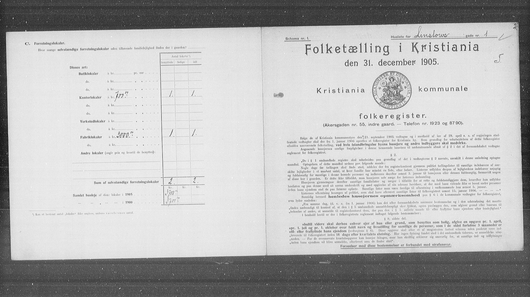 OBA, Municipal Census 1905 for Kristiania, 1905, p. 30318