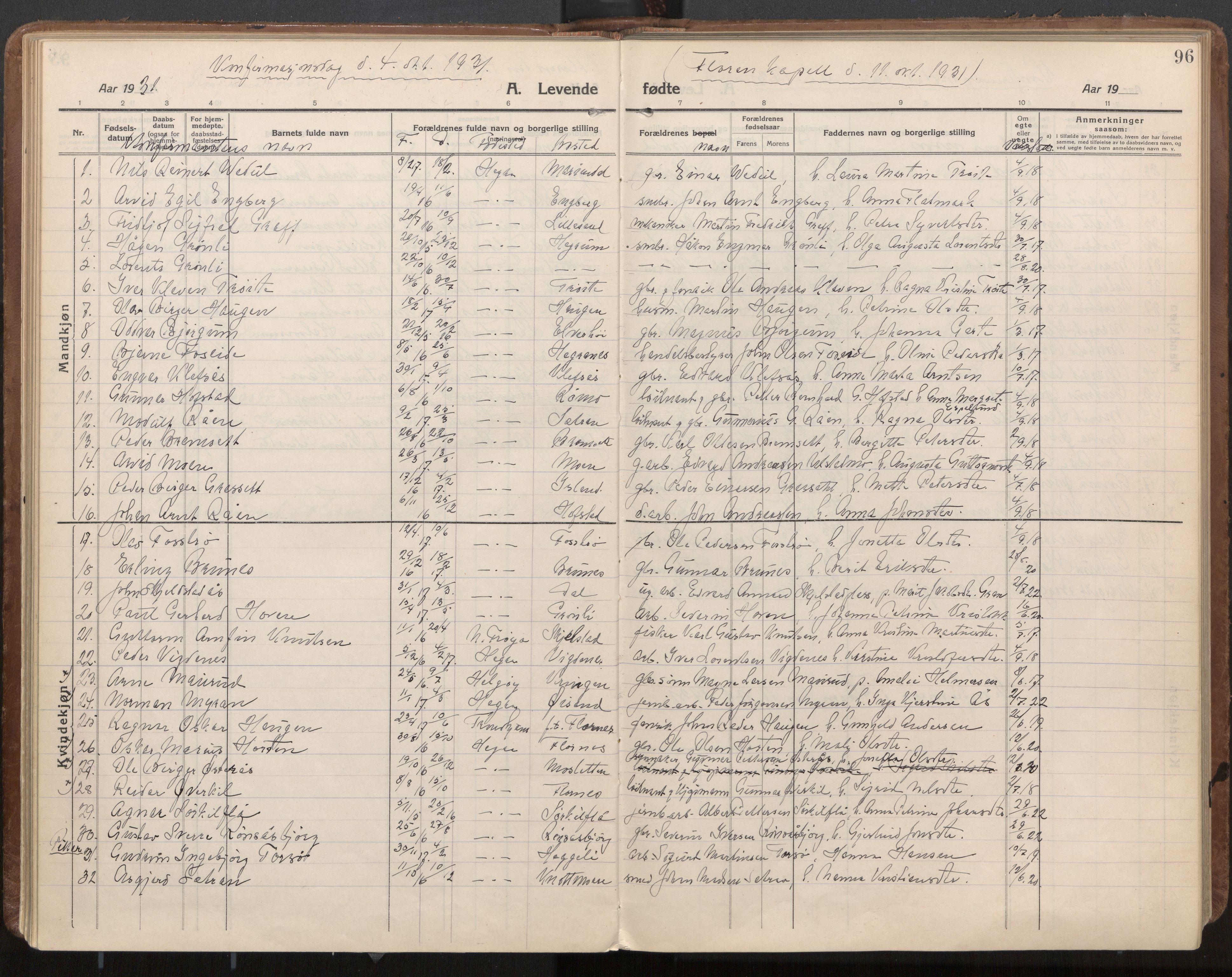 SAT, Ministerialprotokoller, klokkerbøker og fødselsregistre - Nord-Trøndelag, 703/L0037: Parish register (official) no. 703A10, 1915-1932, p. 96