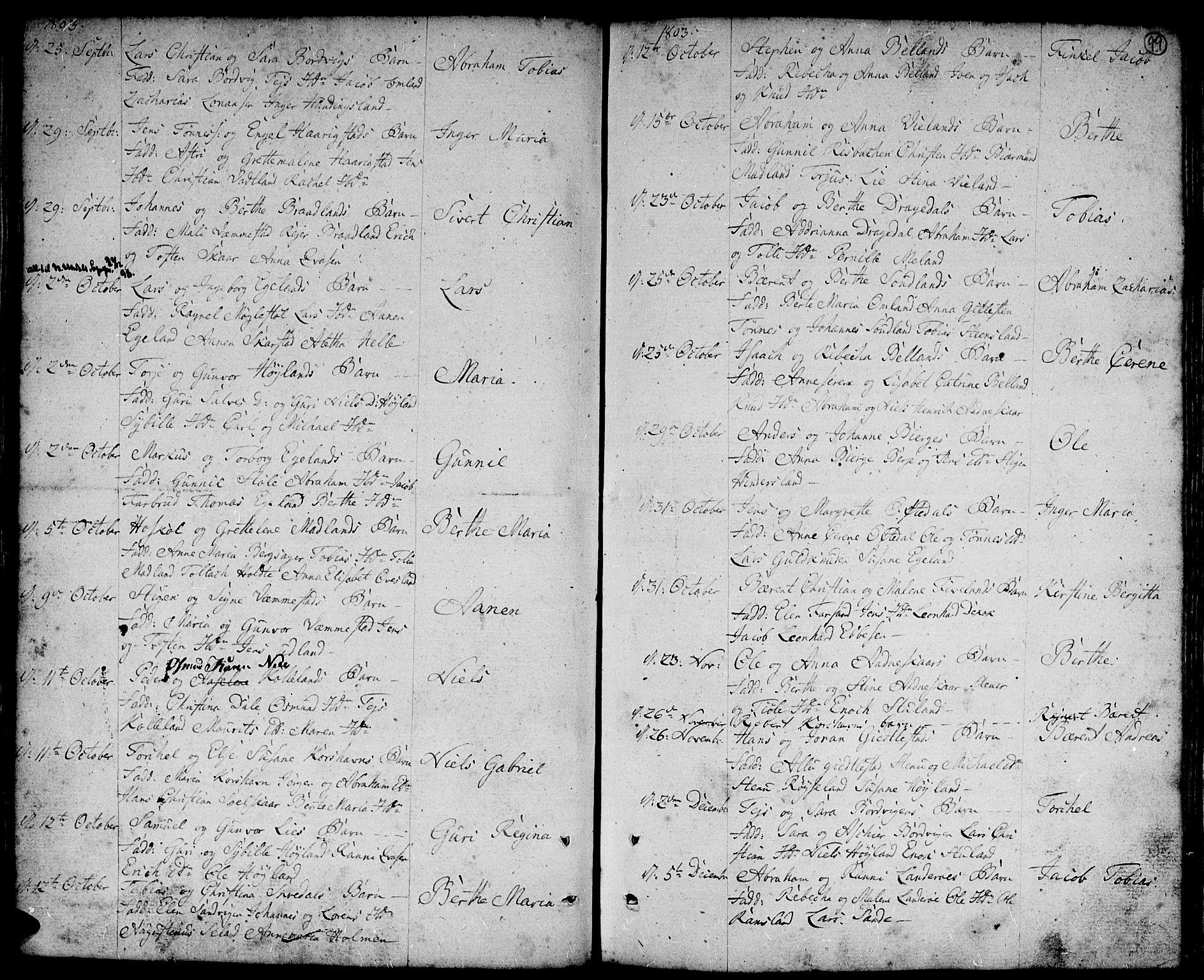 SAK, Lyngdal sokneprestkontor, F/Fa/Fac/L0004: Parish register (official) no. A 4, 1780-1815, p. 99