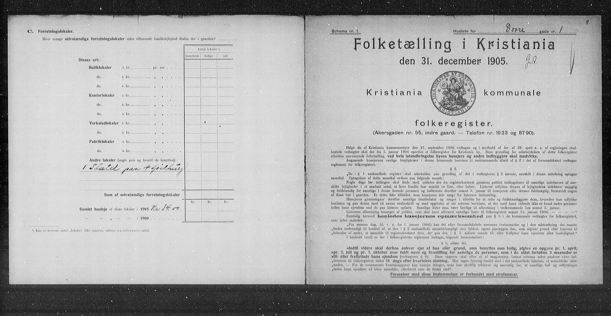 OBA, Municipal Census 1905 for Kristiania, 1905, p. 8317