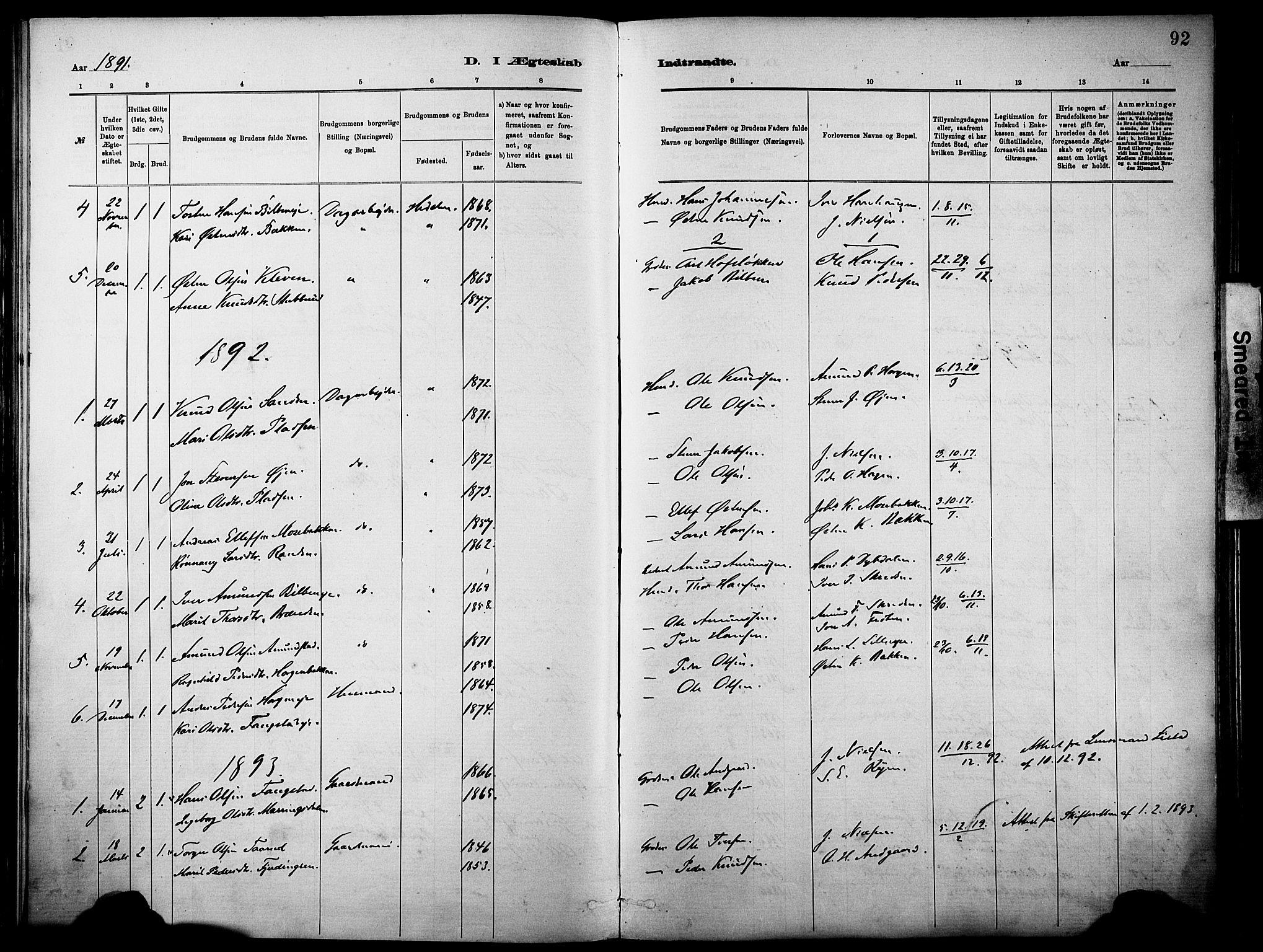 SAH, Vågå prestekontor, Parish register (official) no. 10, 1887-1904, p. 92