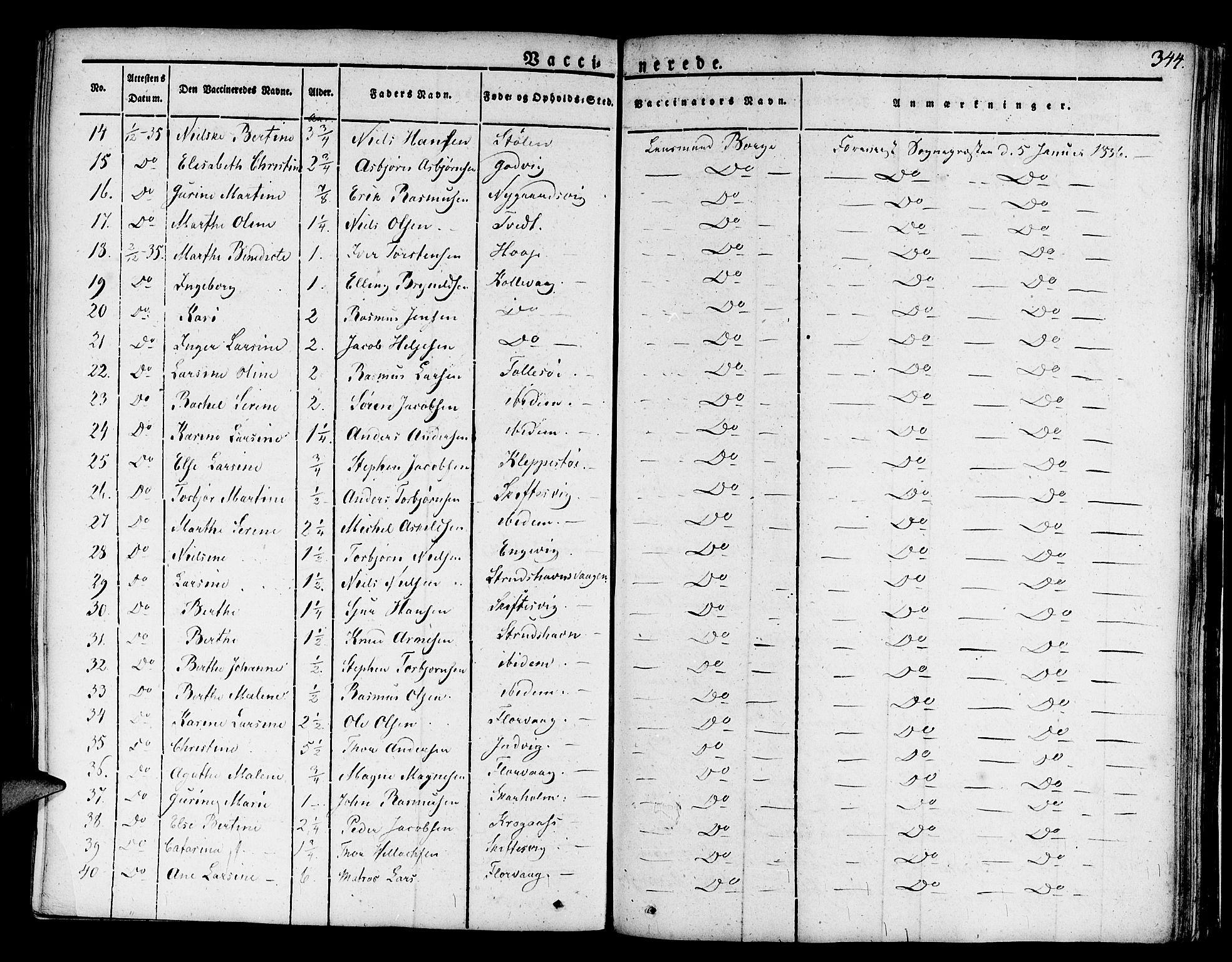 SAB, Askøy Sokneprestembete, H/Ha/Haa/Haaa/L0004: Parish register (official) no. A 4, 1825-1845, p. 344