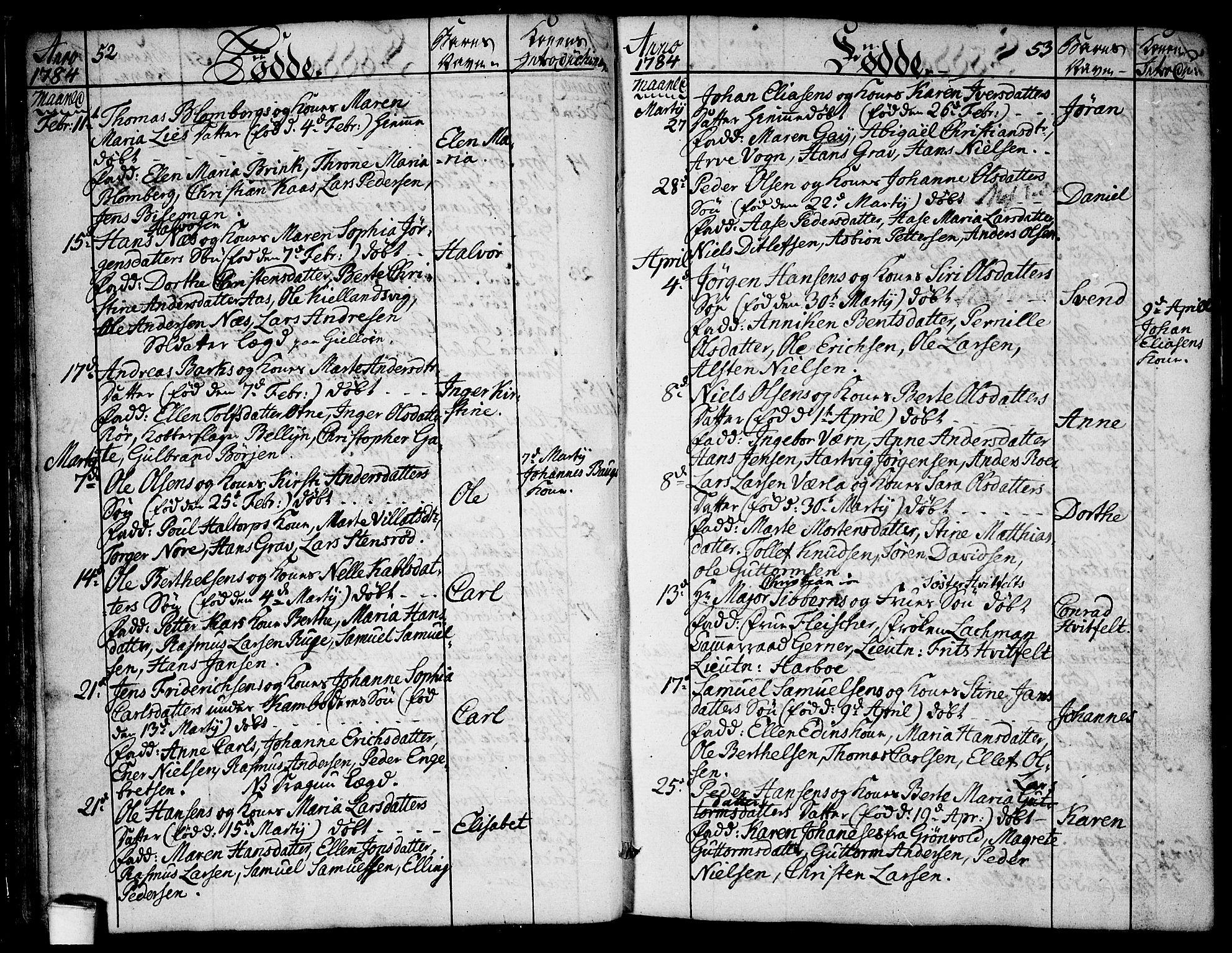 SAO, Moss prestekontor Kirkebøker, F/Fa/Faa/L0003: Parish register (official) no. I 3, 1779-1814, p. 52-53