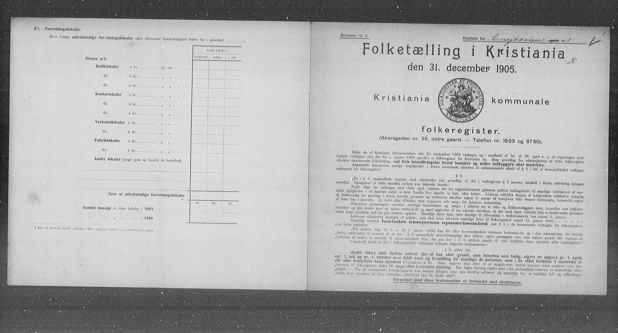 OBA, Municipal Census 1905 for Kristiania, 1905, p. 11095
