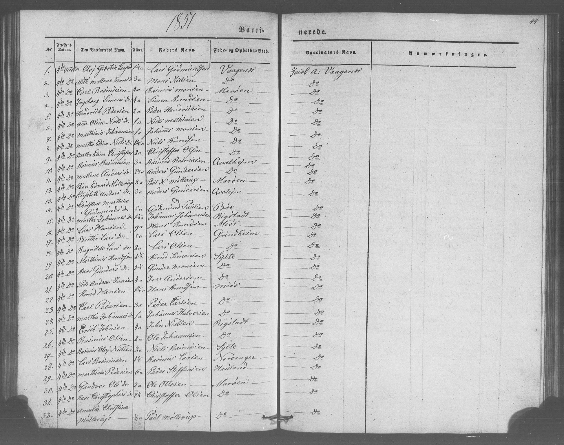SAB, Manger sokneprestembete, H/Haa: Parish register (official) no. A 10, 1844-1859, p. 44