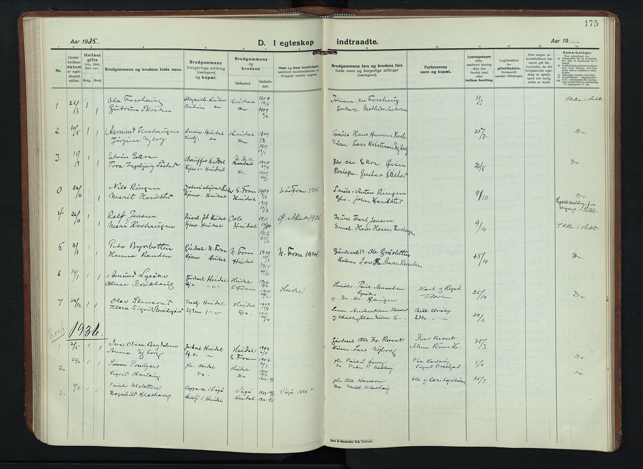 SAH, Sel prestekontor, Parish register (copy) no. 6, 1923-1953, p. 175