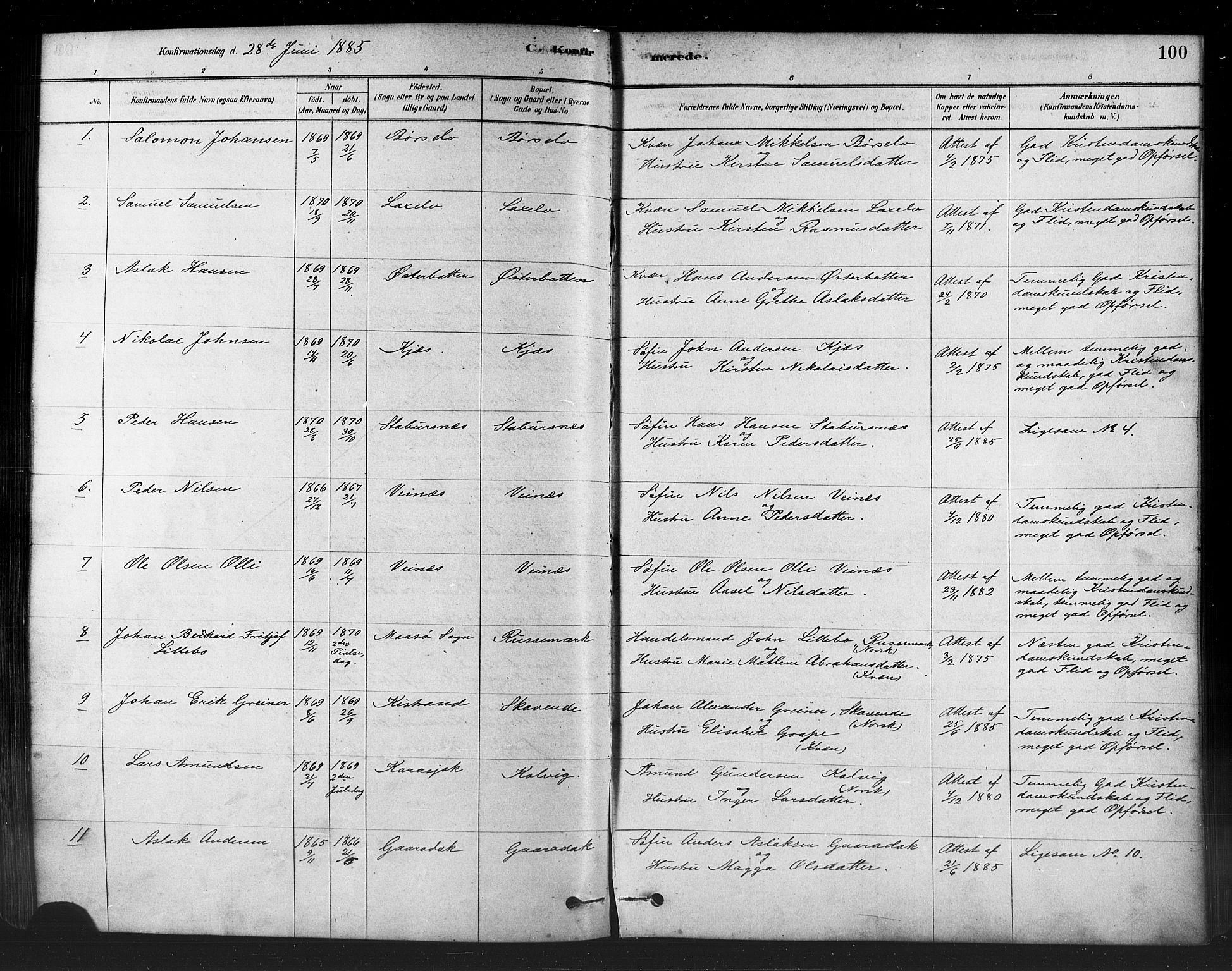 SATØ, Kistrand/Porsanger sokneprestembete, H/Ha/L0007.kirke: Parish register (official) no. 7, 1881-1889, p. 100