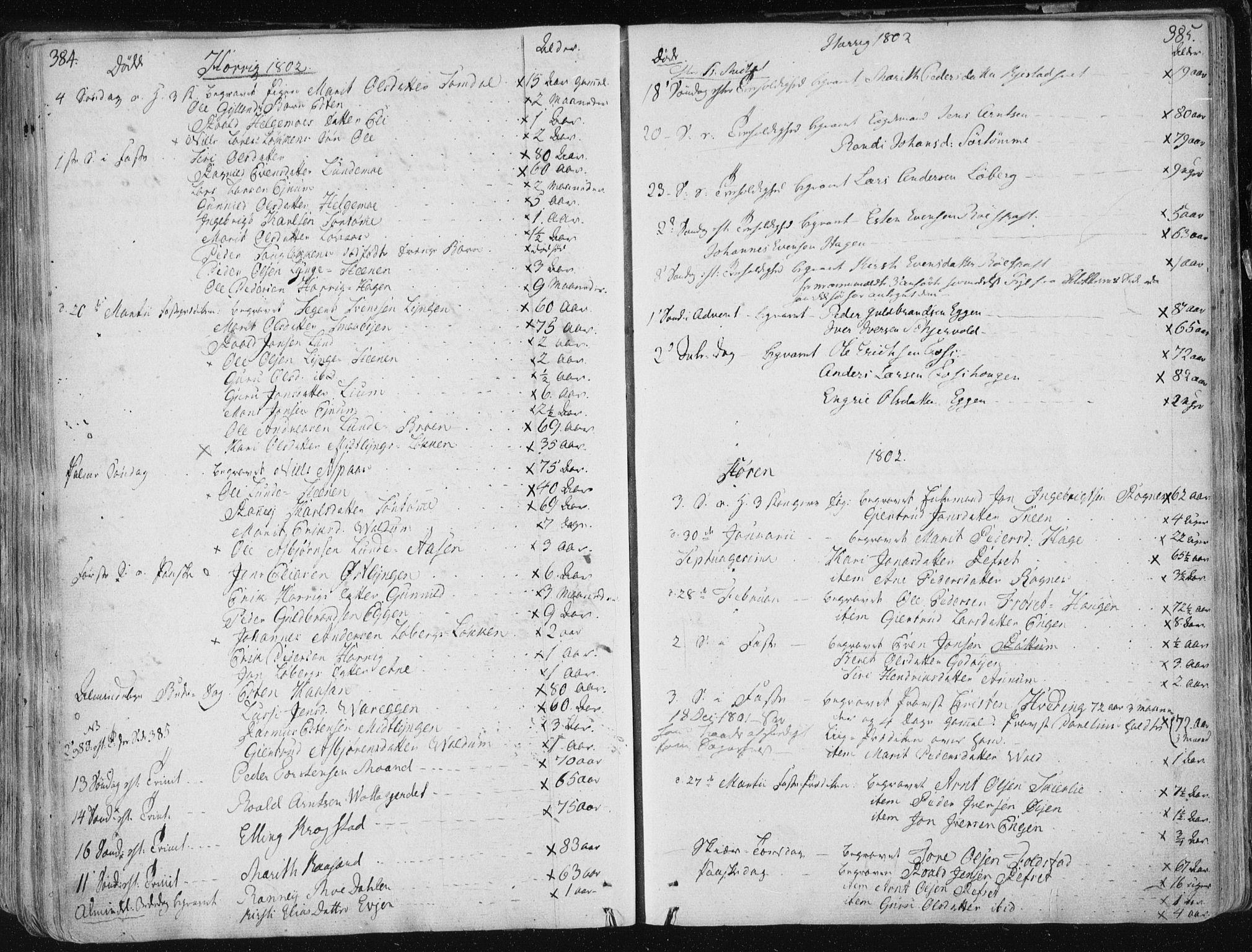SAT, Ministerialprotokoller, klokkerbøker og fødselsregistre - Sør-Trøndelag, 687/L0992: Parish register (official) no. 687A03 /1, 1788-1815, p. 384-385