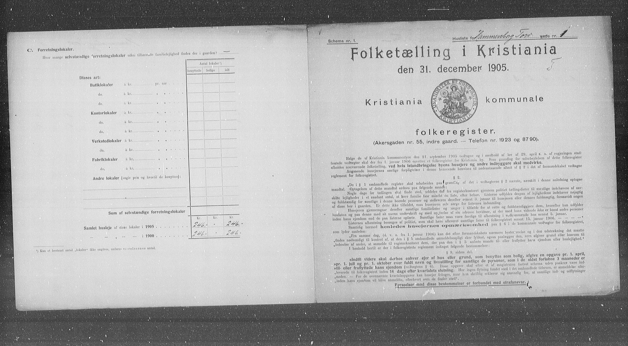OBA, Municipal Census 1905 for Kristiania, 1905, p. 17622
