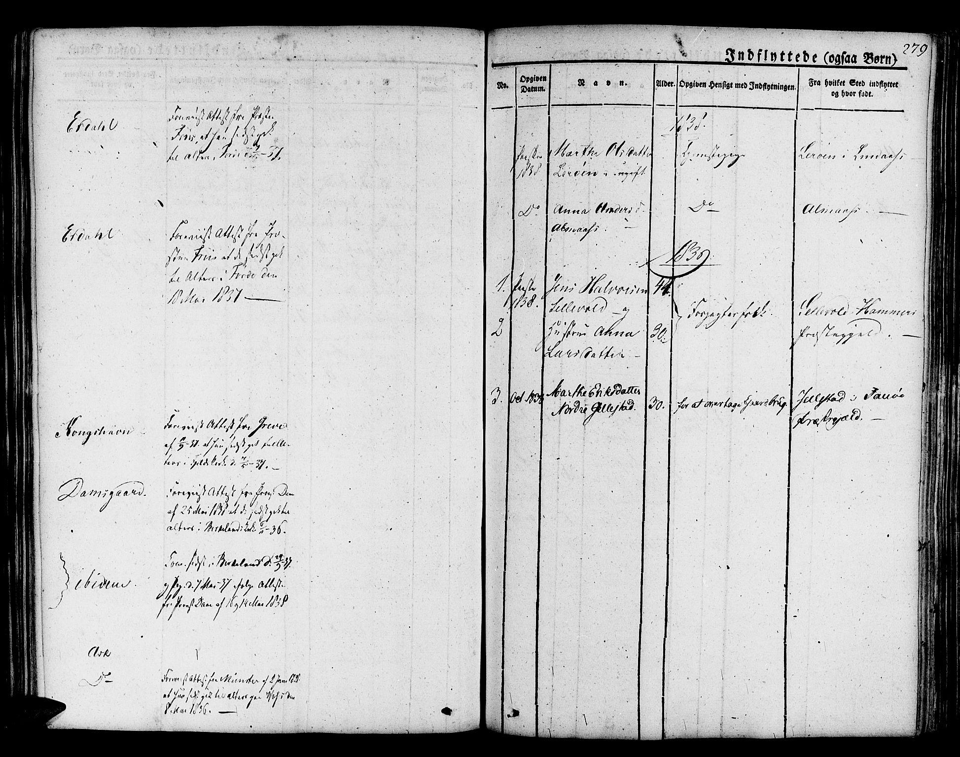SAB, Askøy Sokneprestembete, H/Ha/Haa/Haaa/L0004: Parish register (official) no. A 4, 1825-1845, p. 279