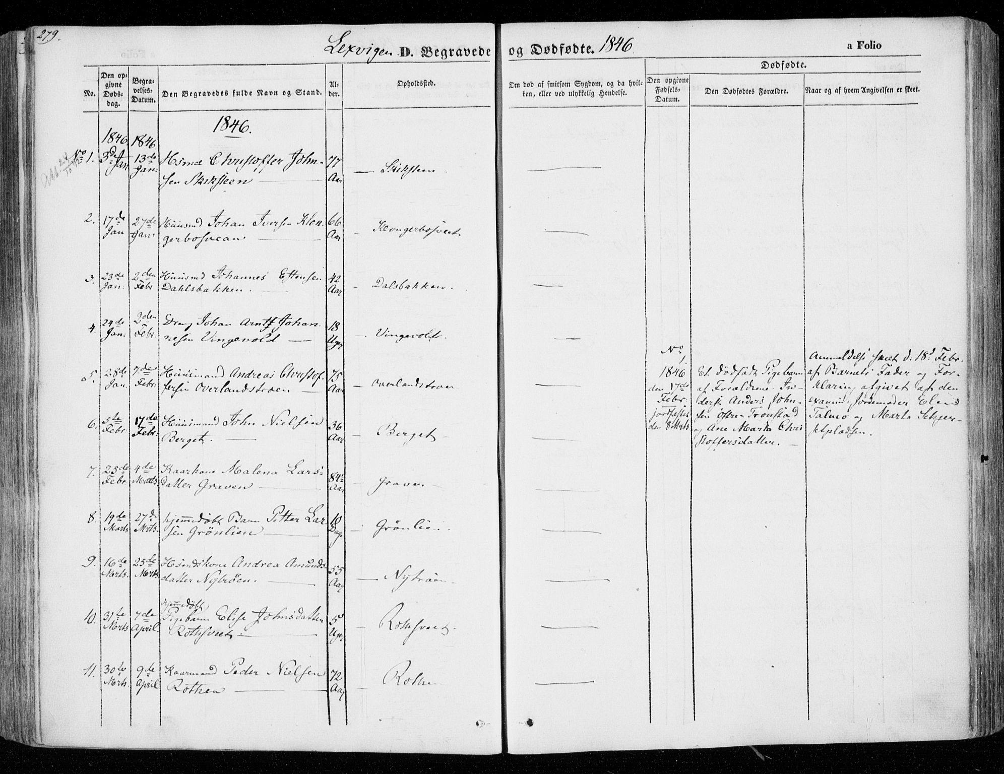 SAT, Ministerialprotokoller, klokkerbøker og fødselsregistre - Nord-Trøndelag, 701/L0007: Parish register (official) no. 701A07 /1, 1842-1854, p. 279