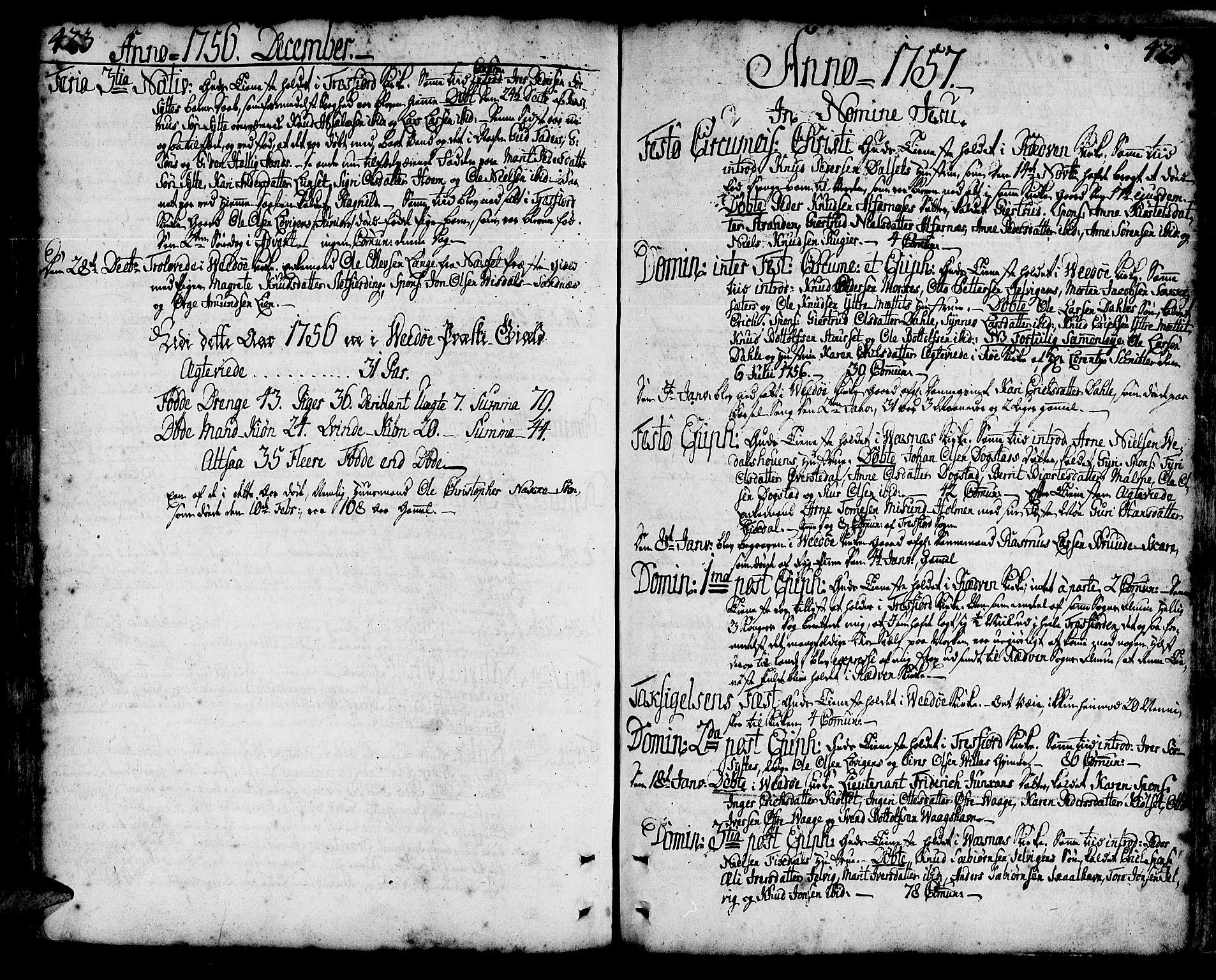 SAT, Ministerialprotokoller, klokkerbøker og fødselsregistre - Møre og Romsdal, 547/L0599: Parish register (official) no. 547A01, 1721-1764, p. 423-424