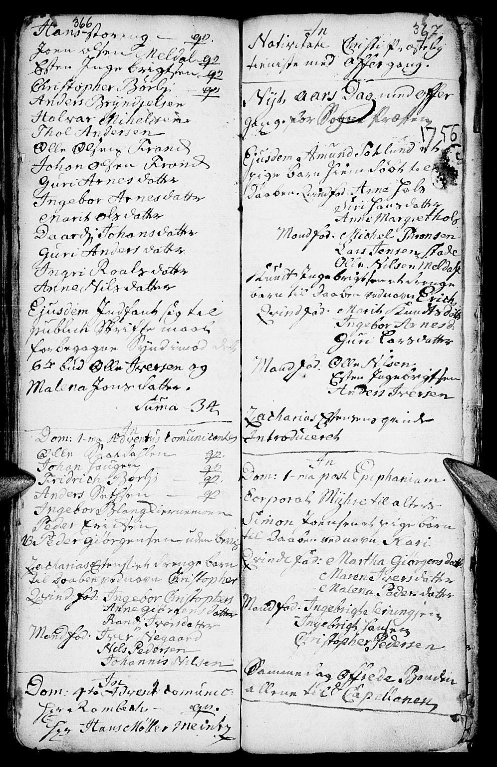 SAH, Kvikne prestekontor, Parish register (official) no. 1, 1740-1756, p. 366-367